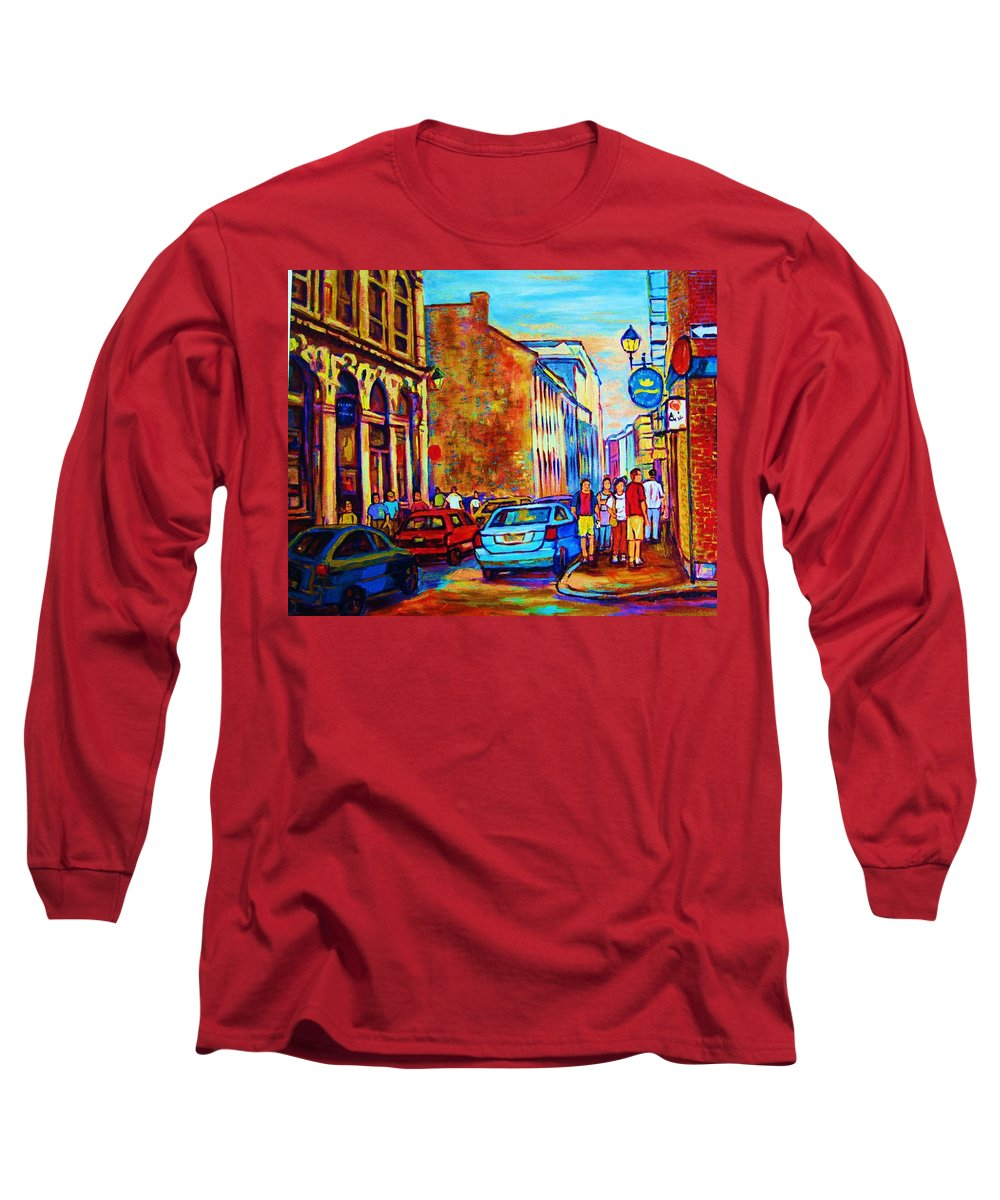 Montreal Long Sleeve T-Shirt featuring the painting Blue Cars At The Resto Bar by Carole Spandau