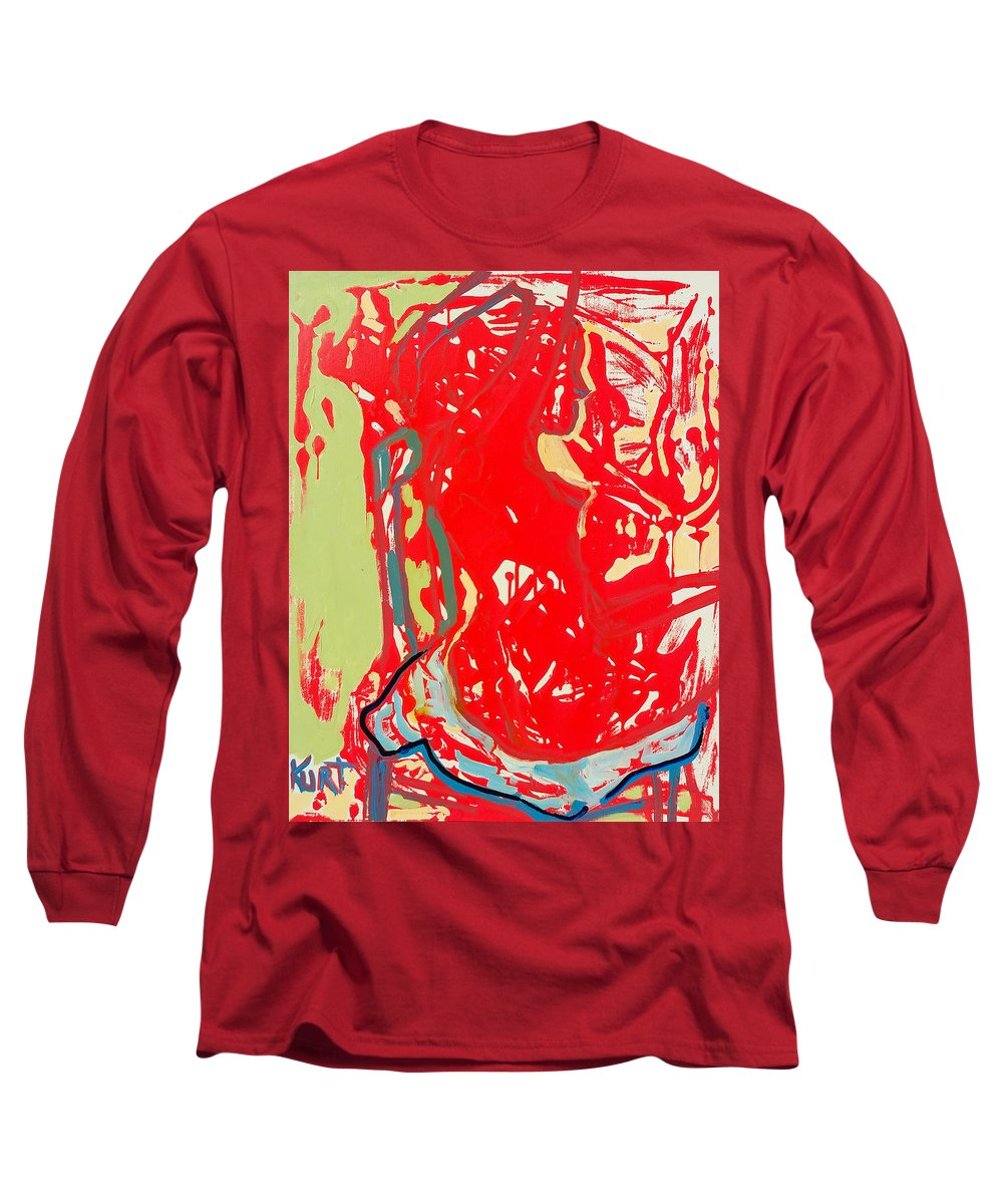 Nude Long Sleeve T-Shirt featuring the painting Blue Chair by Kurt Hausmann