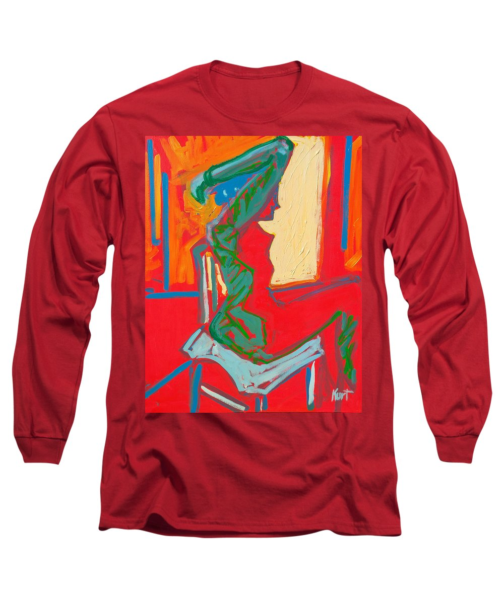 Woman Long Sleeve T-Shirt featuring the painting Blue Chair Study by Kurt Hausmann