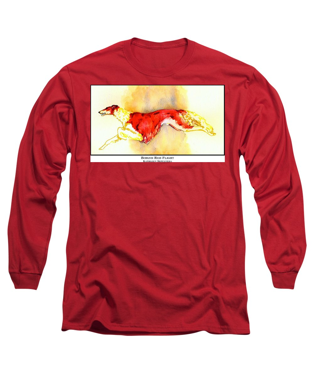 Borzoi Long Sleeve T-Shirt featuring the digital art Borzoi Red Flight by Kathleen Sepulveda