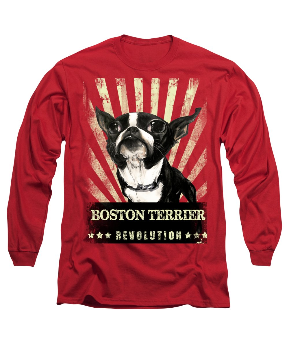 Boston Terrier Long Sleeve T-Shirt featuring the drawing Boston Terrier Revolution by John LaFree