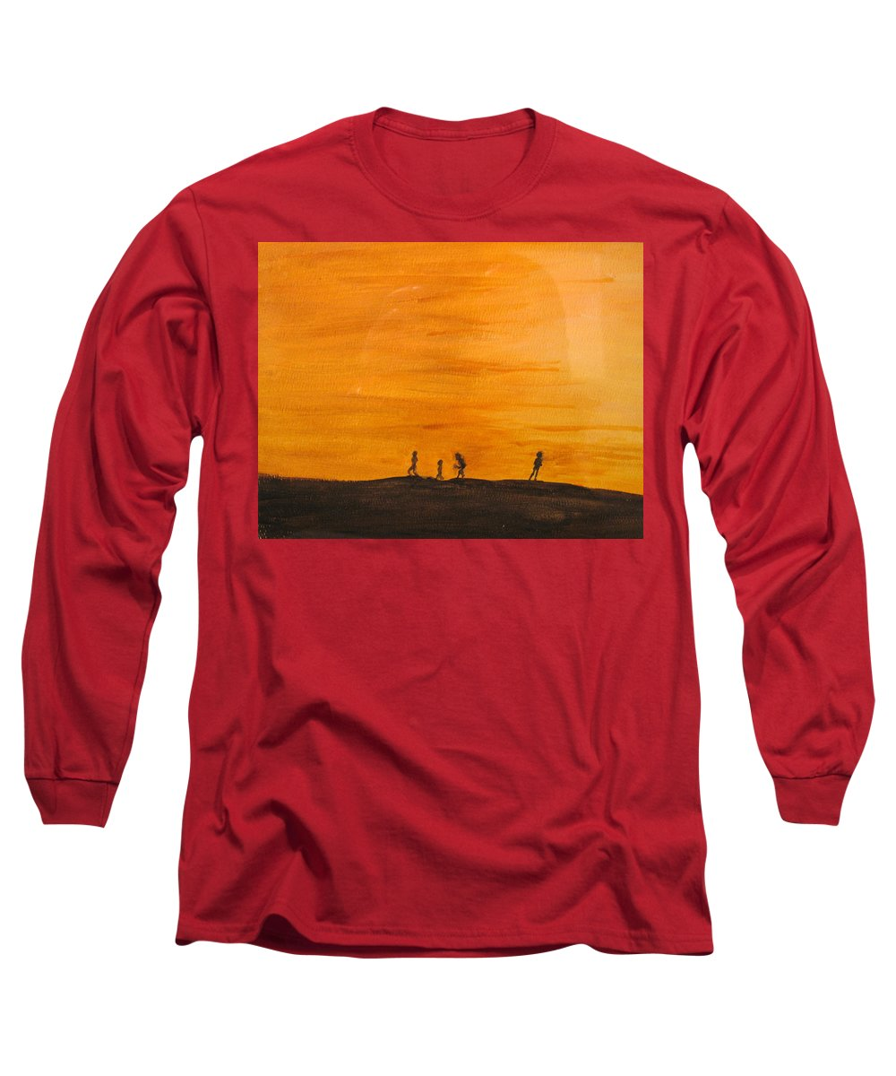 Boys Long Sleeve T-Shirt featuring the painting Boys At Sunset by Ian MacDonald