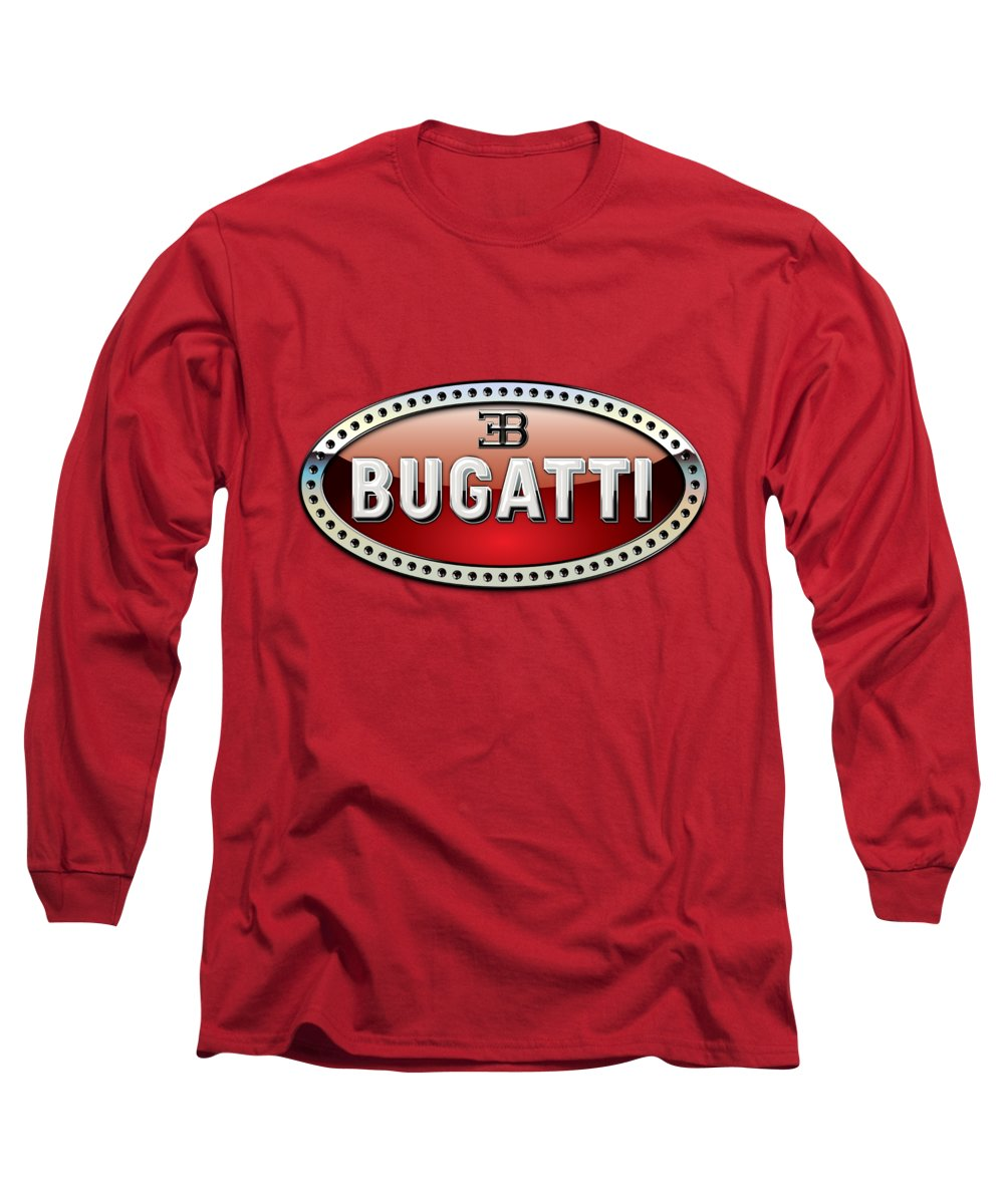 �wheels Of Fortune� Collection By Serge Averbukh Long Sleeve T-Shirt featuring the photograph Bugatti - 3 D Badge On Red by Serge Averbukh
