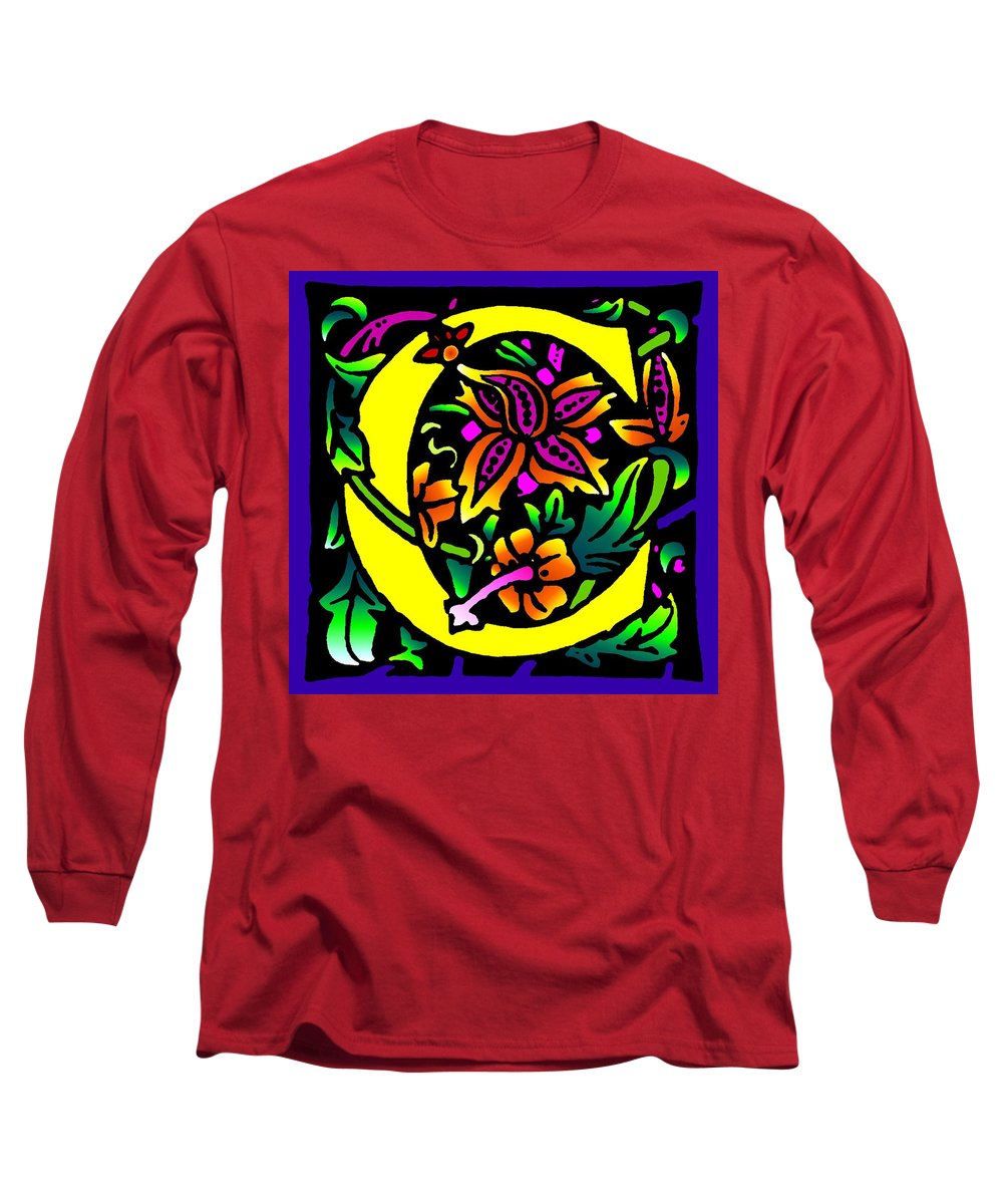 Alphabet Long Sleeve T-Shirt featuring the digital art C In Yellow by Kathleen Sepulveda