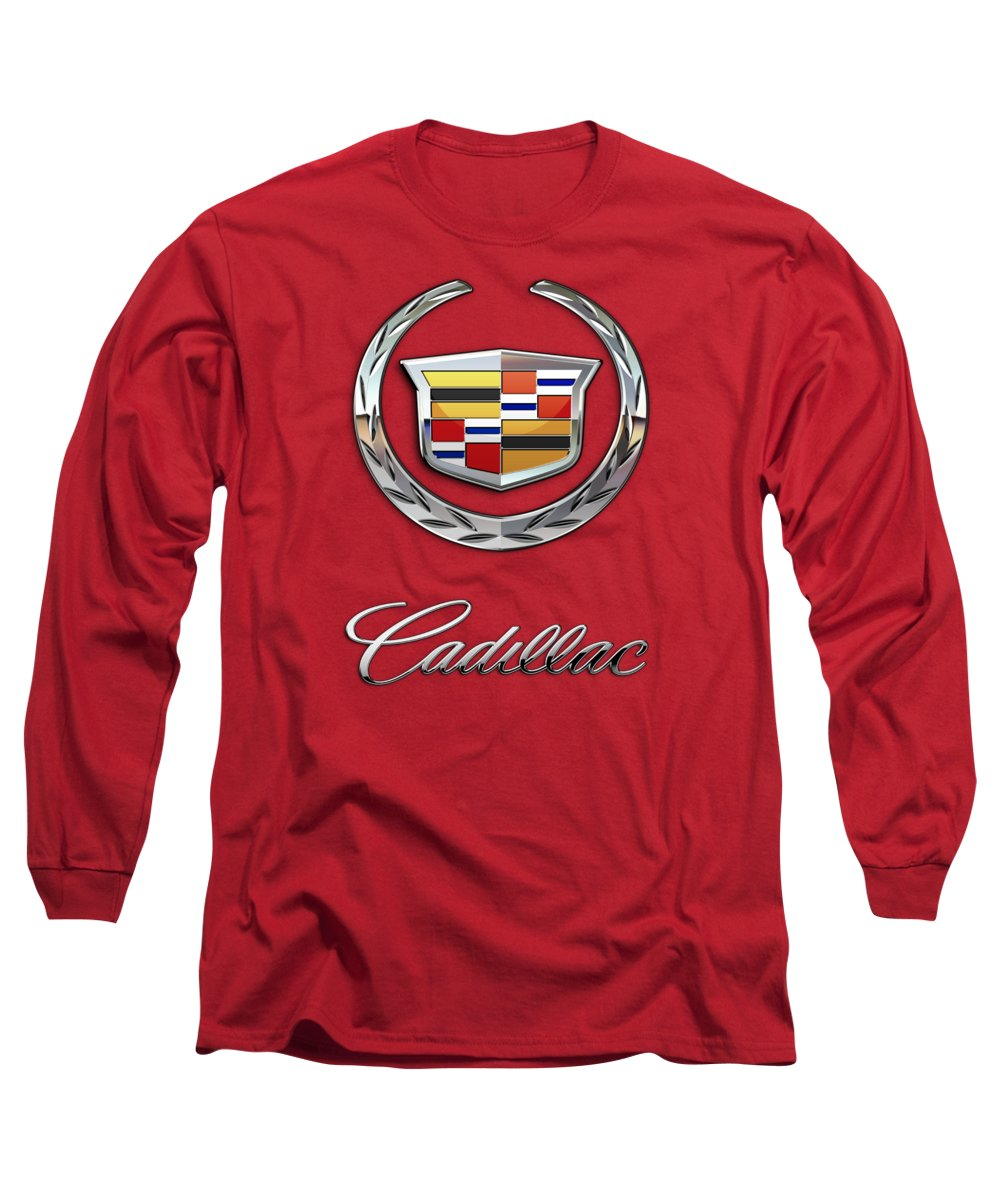 �wheels Of Fortune� Collection By Serge Averbukh Long Sleeve T-Shirt featuring the photograph Cadillac - 3 D Badge On Red by Serge Averbukh