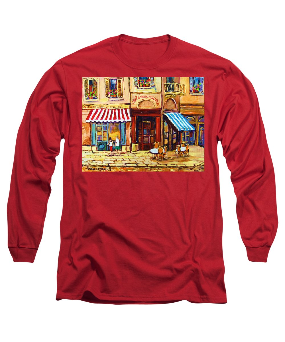 Old Montreal Outdoor Cafe City Scenes Long Sleeve T-Shirt featuring the painting Cafe De Vieux Montreal With Couple by Carole Spandau