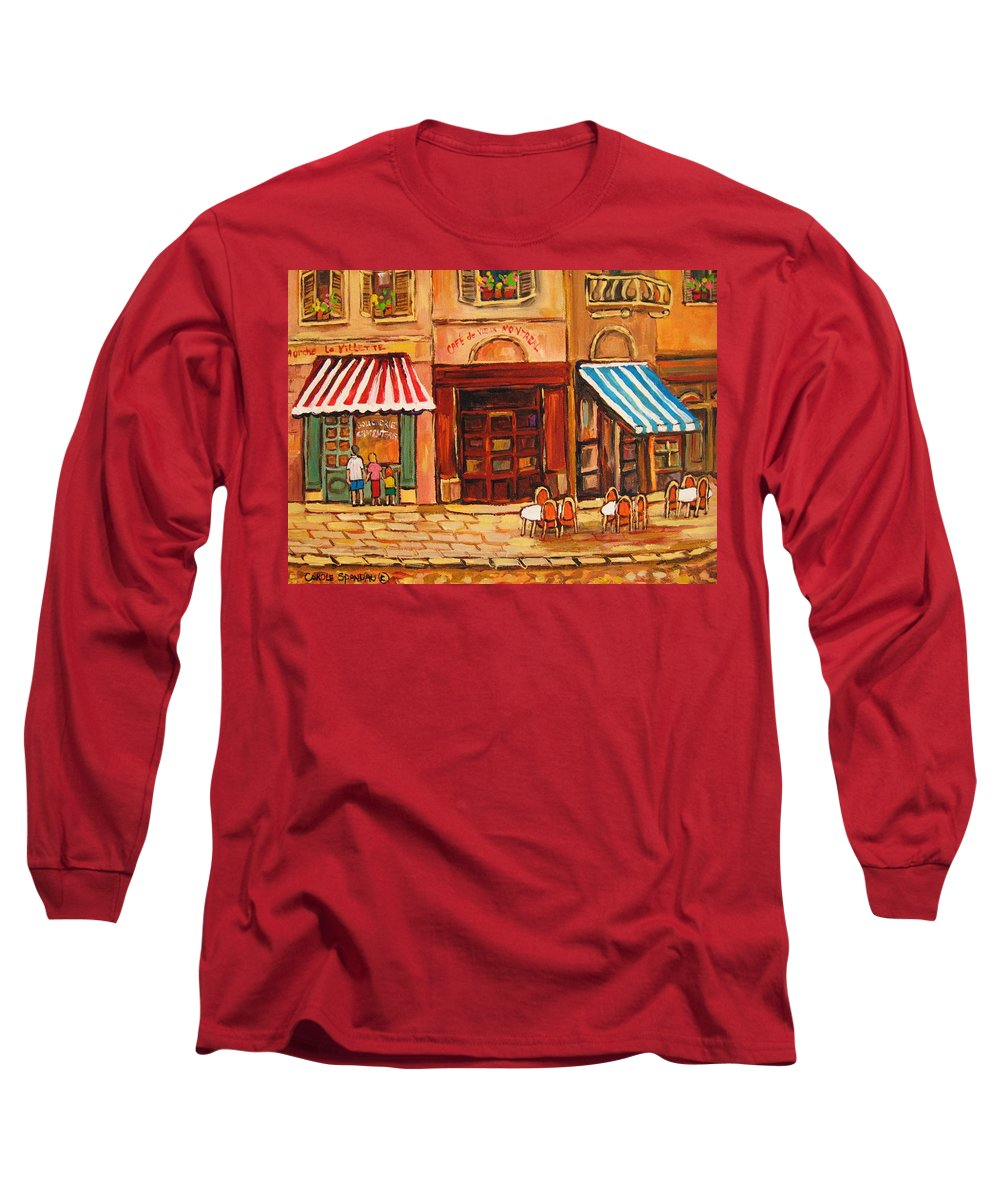 Cafe Vieux Montreal Street Scenes Long Sleeve T-Shirt featuring the painting Cafe Vieux Montreal by Carole Spandau