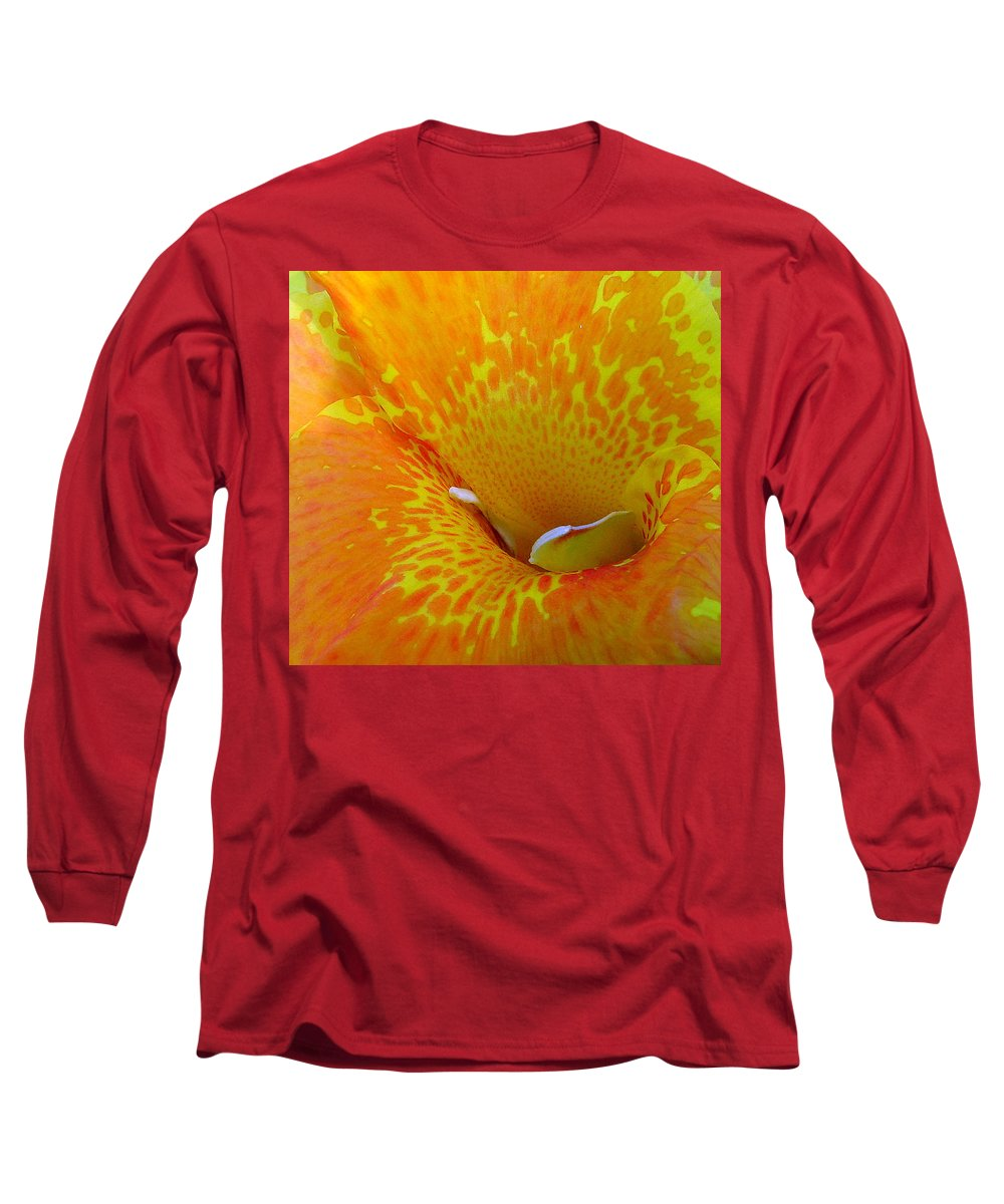 Orange Yellow Flower Long Sleeve T-Shirt featuring the photograph Canna by Luciana Seymour