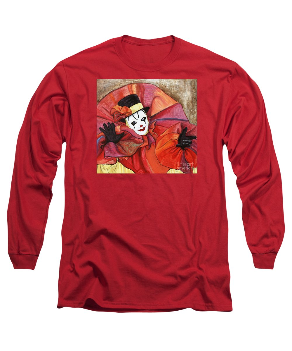 Clown Long Sleeve T-Shirt featuring the painting Carnival Clown by Patty Vicknair
