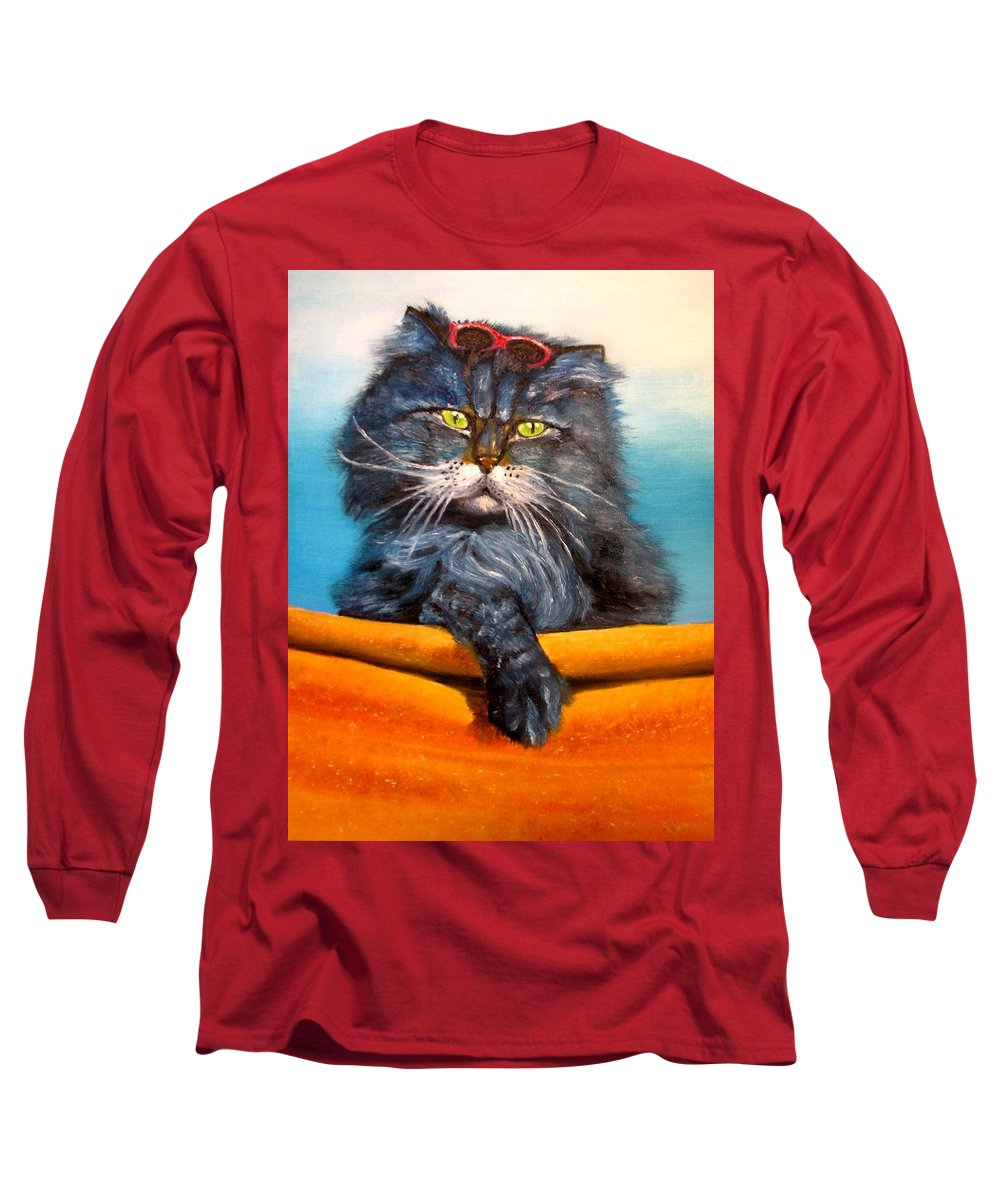 Cat Long Sleeve T-Shirt featuring the painting Cat.go To Swim.original Oil Painting by Natalja Picugina