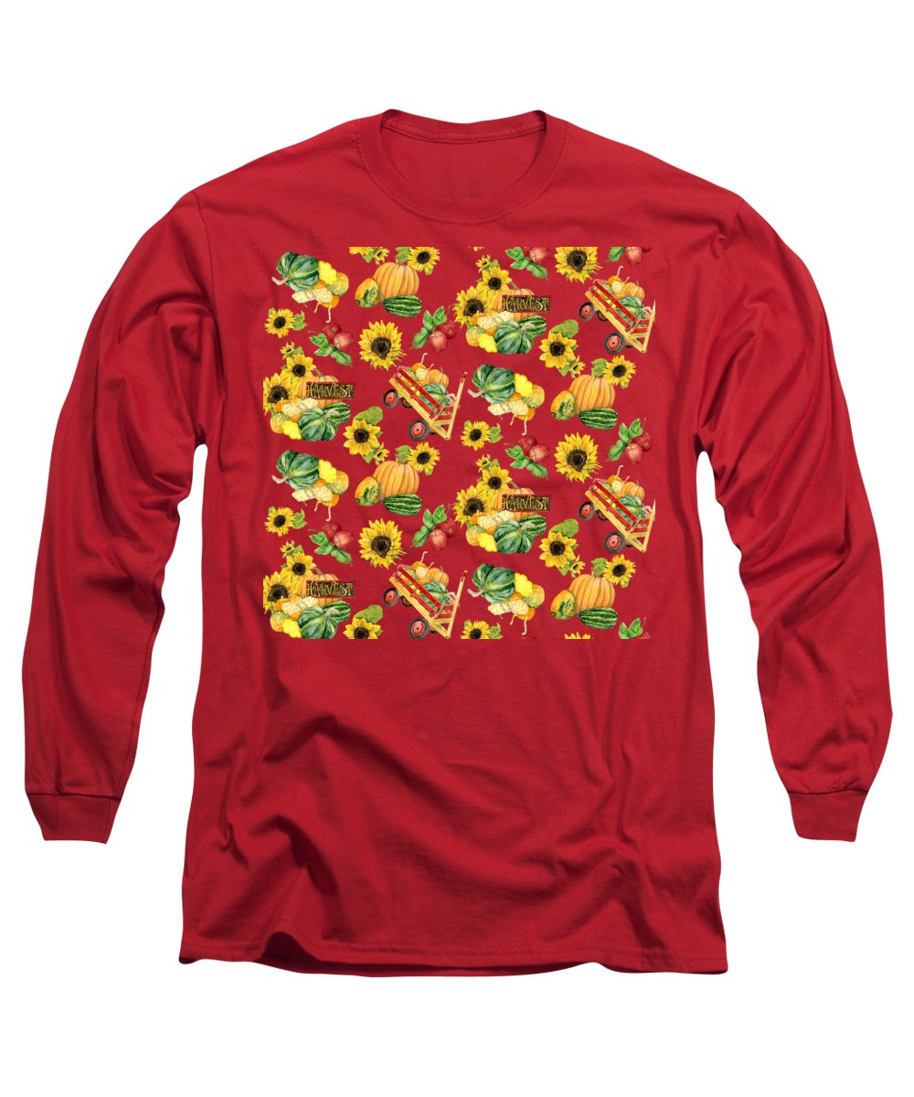 Harvest Long Sleeve T-Shirt featuring the painting Celebrate Abundance Harvest Half Drop Repeat by Audrey Jeanne Roberts