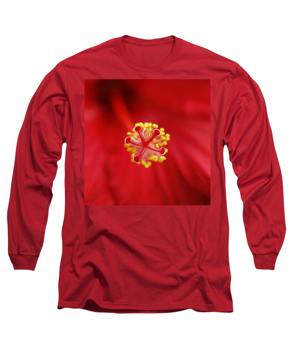 Flower Long Sleeve T-Shirt featuring the photograph Center Of The Hibiscus Universe by Marilyn Hunt