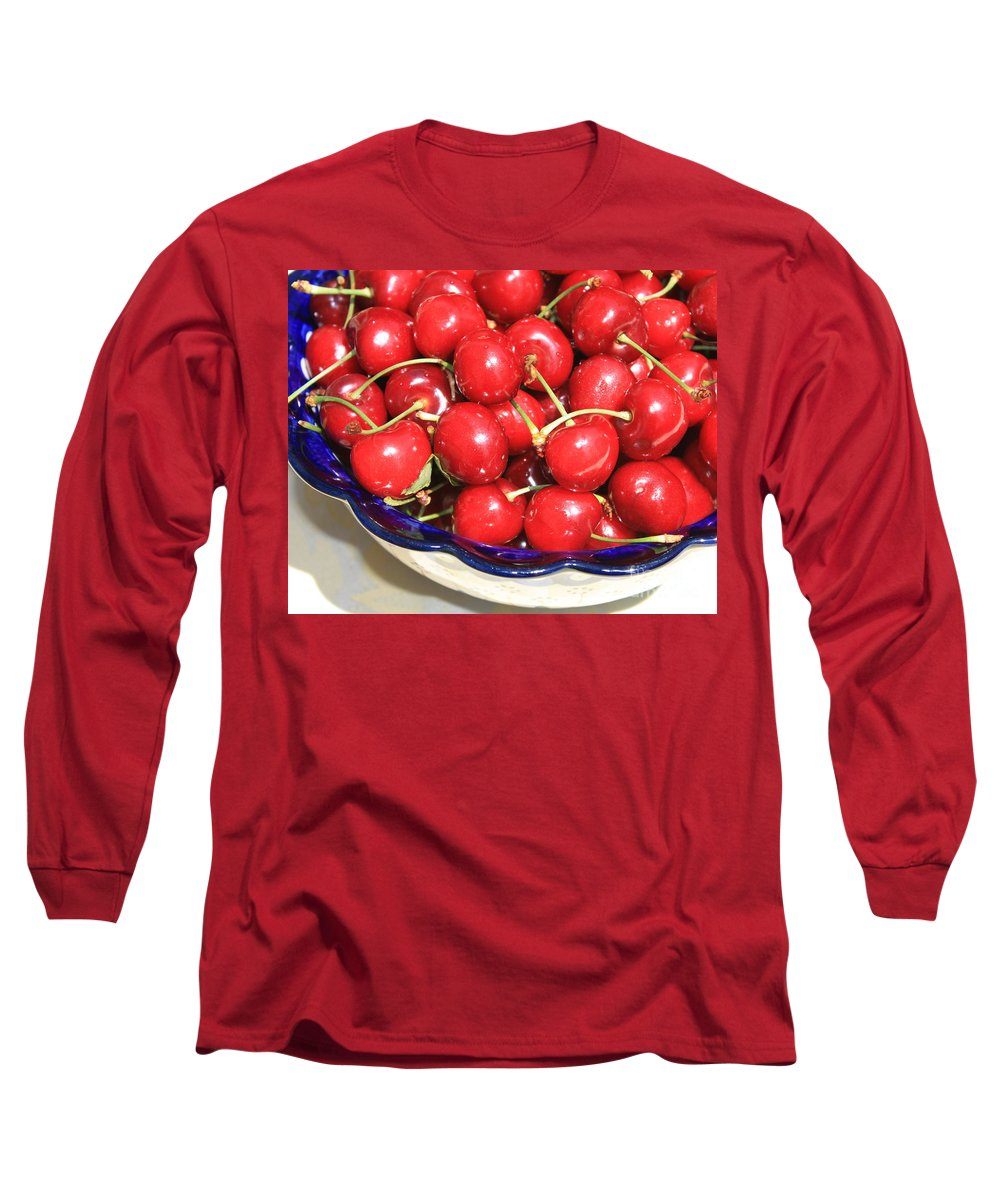 Food Long Sleeve T-Shirt featuring the photograph Cherries In A Bowl Close-up by Carol Groenen
