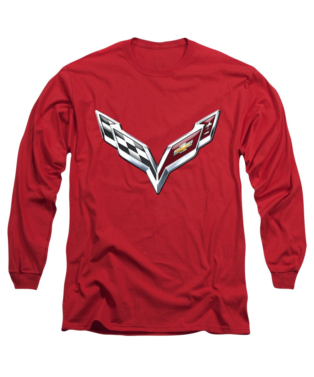 'wheels Of Fortune' Collection By Serge Averbukh Long Sleeve T-Shirt featuring the photograph Chevrolet Corvette - 3d Badge On Red by Serge Averbukh