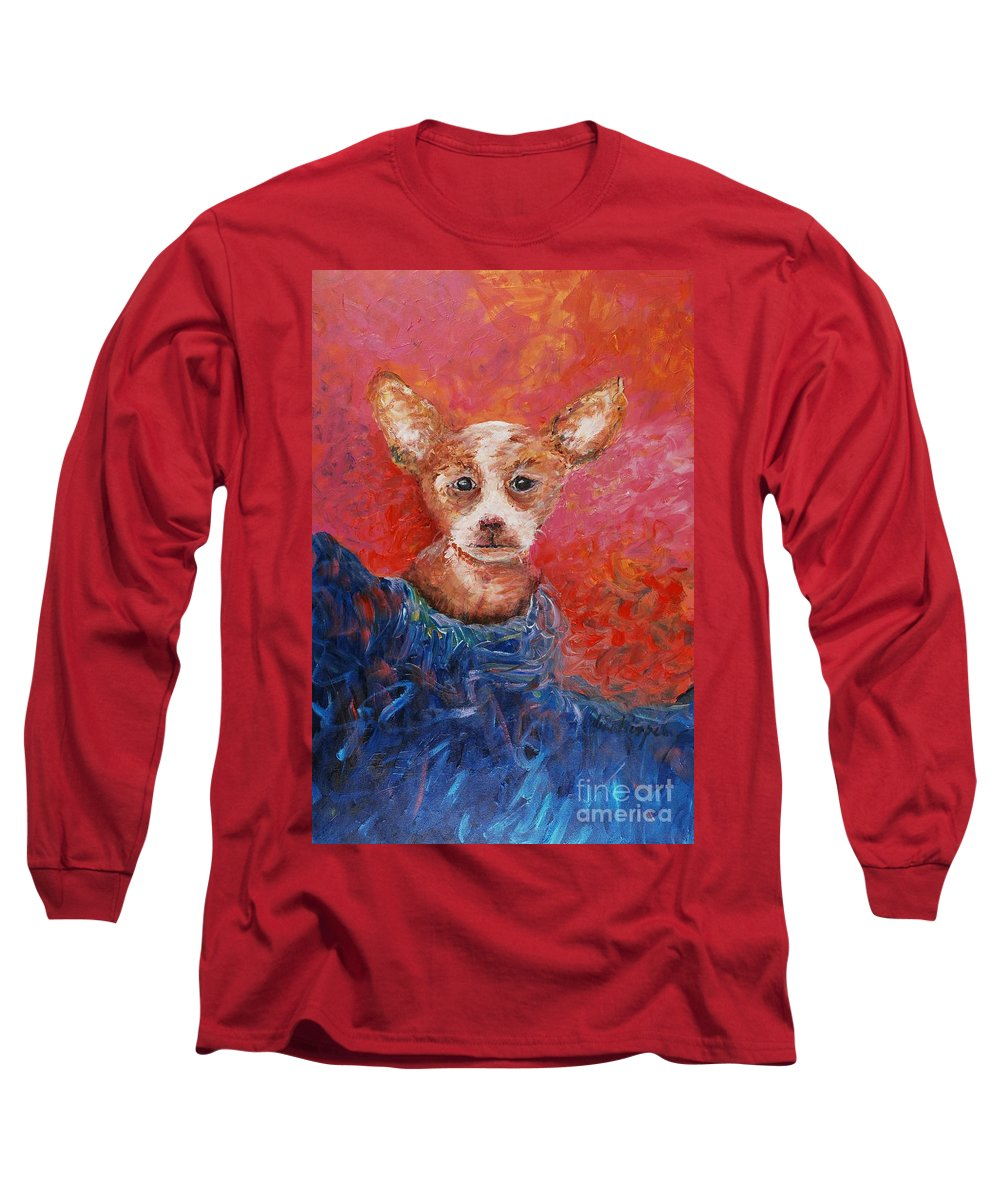 Dog Long Sleeve T-Shirt featuring the painting Chihuahua Blues by Nadine Rippelmeyer