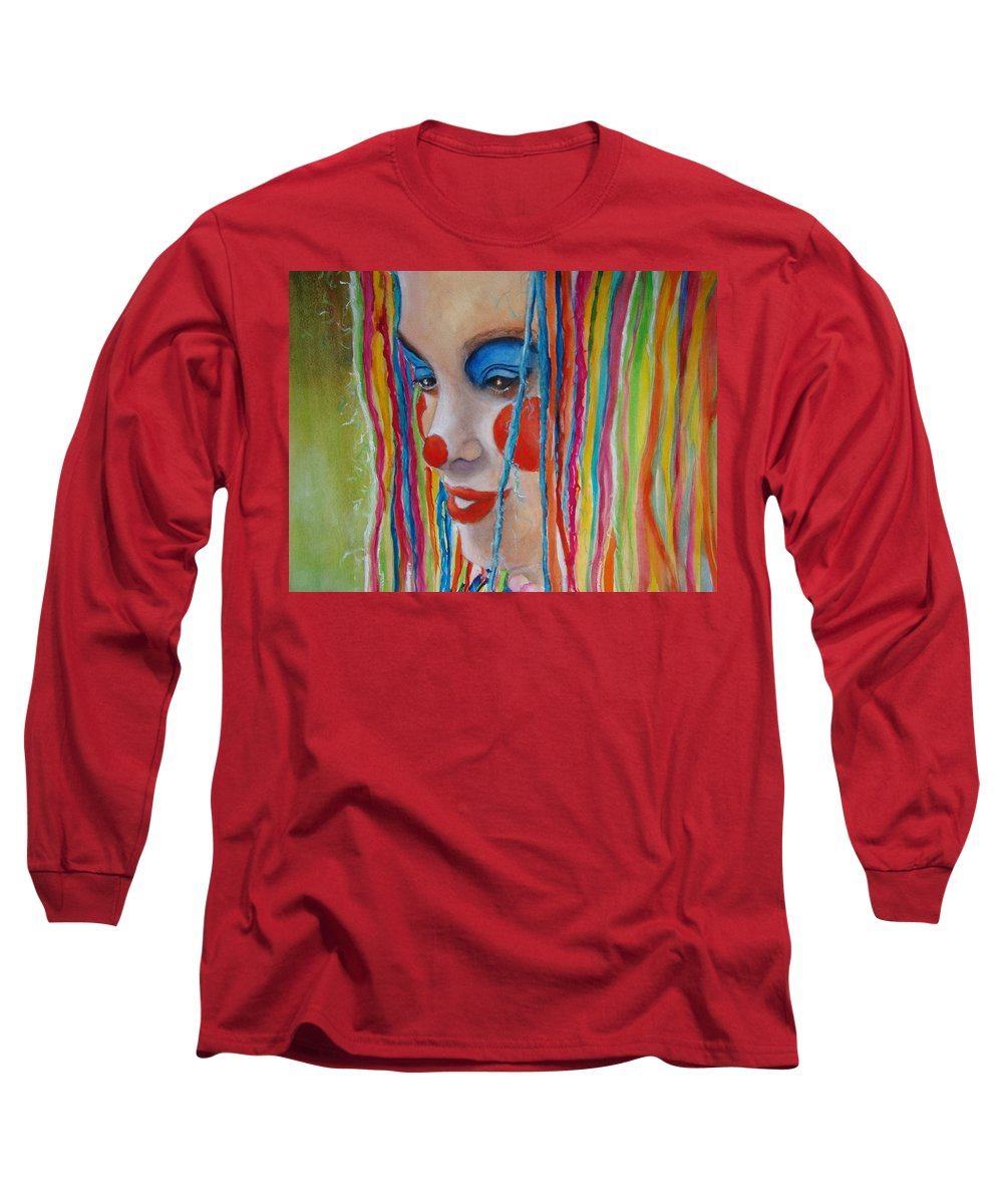 Clowns Long Sleeve T-Shirt featuring the painting Complementary by Myra Evans