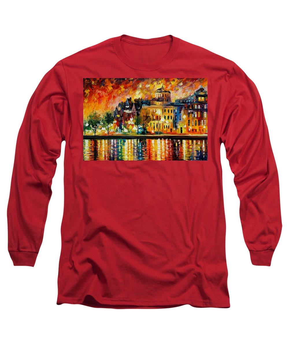 City Long Sleeve T-Shirt featuring the painting Copenhagen Original Oil Painting by Leonid Afremov