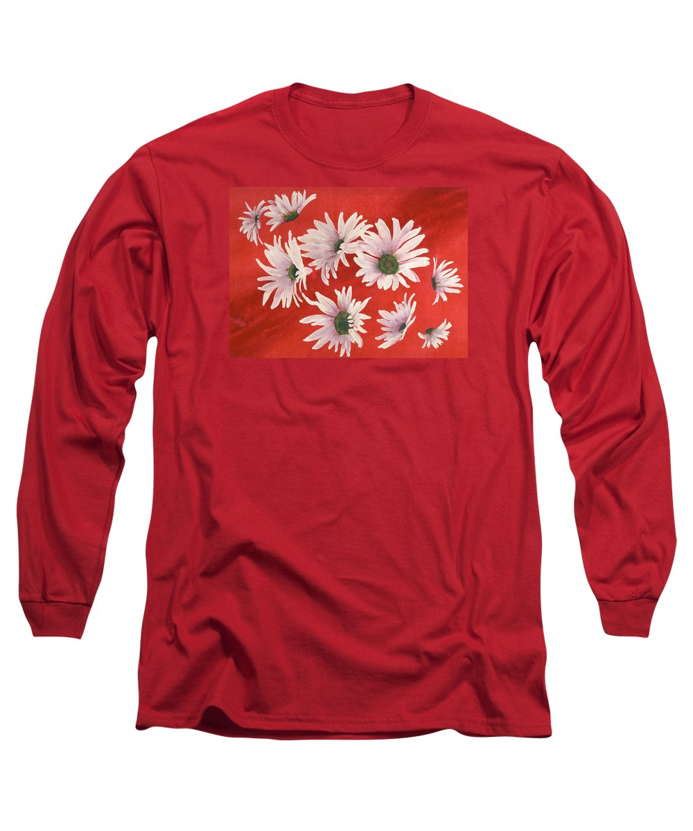 Flowers Long Sleeve T-Shirt featuring the painting Daisy Chain by Ruth Kamenev