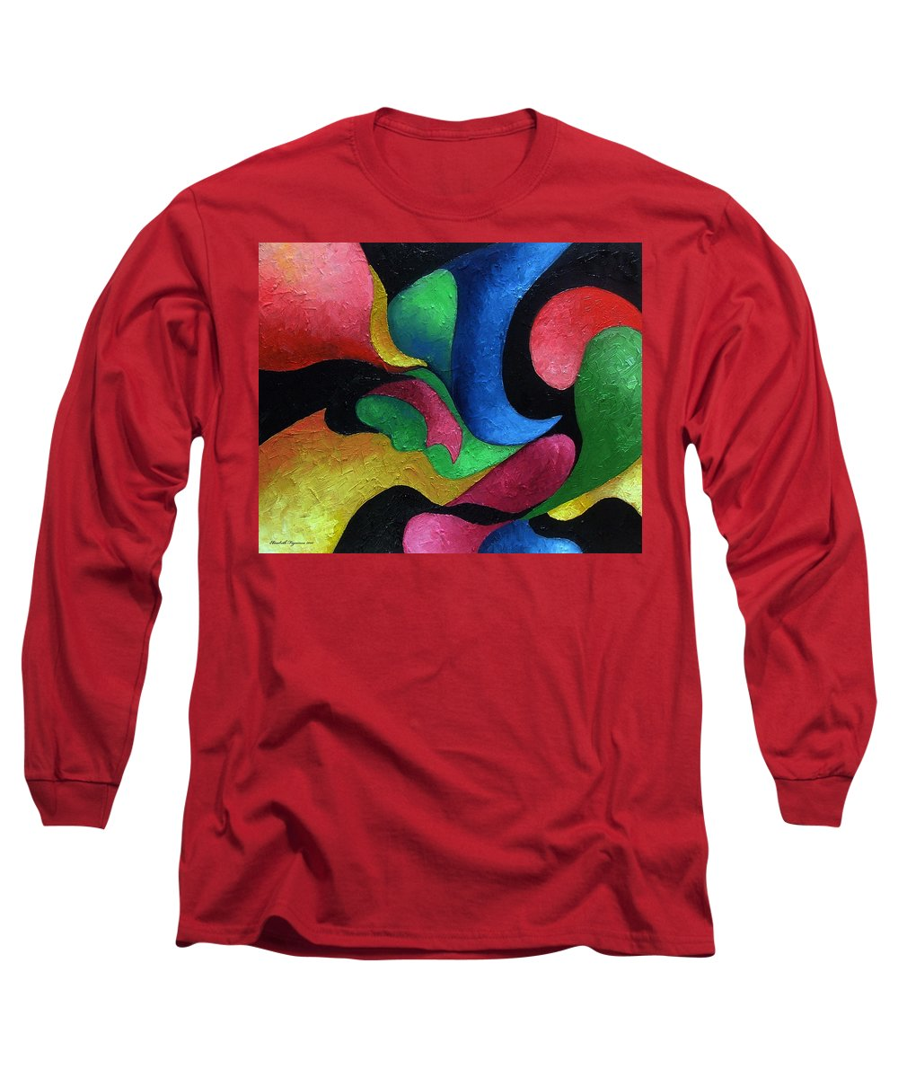 Abstract Long Sleeve T-Shirt featuring the painting Dance With Me by Elizabeth Lisy Figueroa