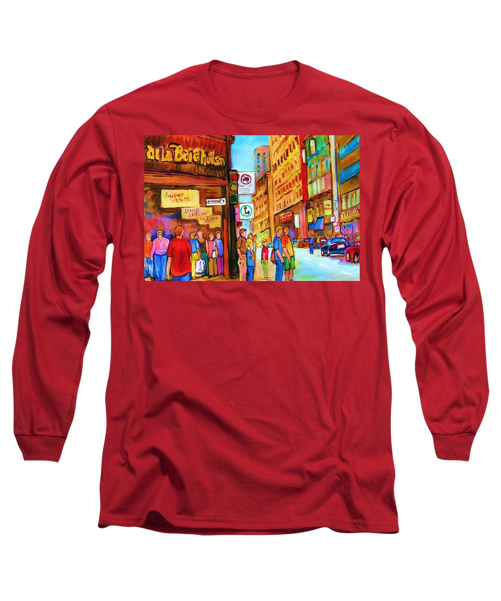 Cityscape Long Sleeve T-Shirt featuring the painting Downtown by Carole Spandau