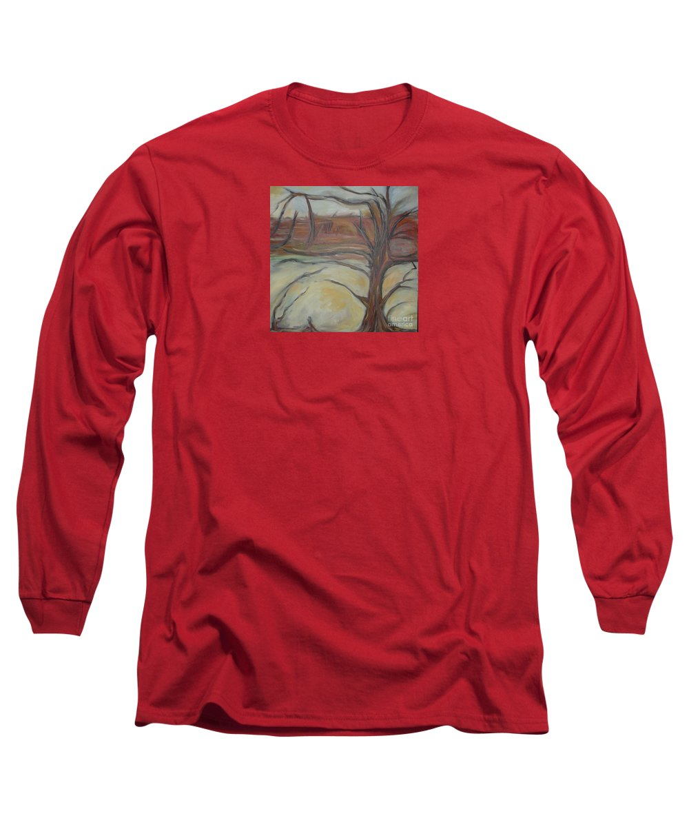 Woods Tree Abstract Original Painting Winter Long Sleeve T-Shirt featuring the painting Drift by Leila Atkinson