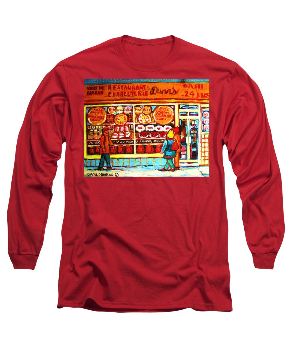 Montreal Long Sleeve T-Shirt featuring the painting Dunn's Treats And Sweets by Carole Spandau