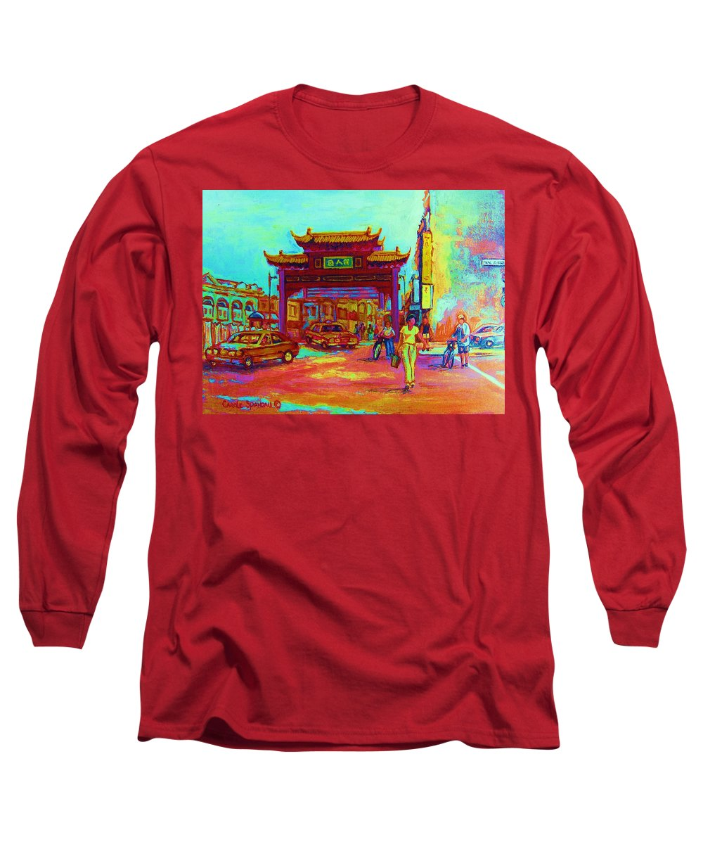 Montreal Long Sleeve T-Shirt featuring the painting Entrance To Chinatown by Carole Spandau