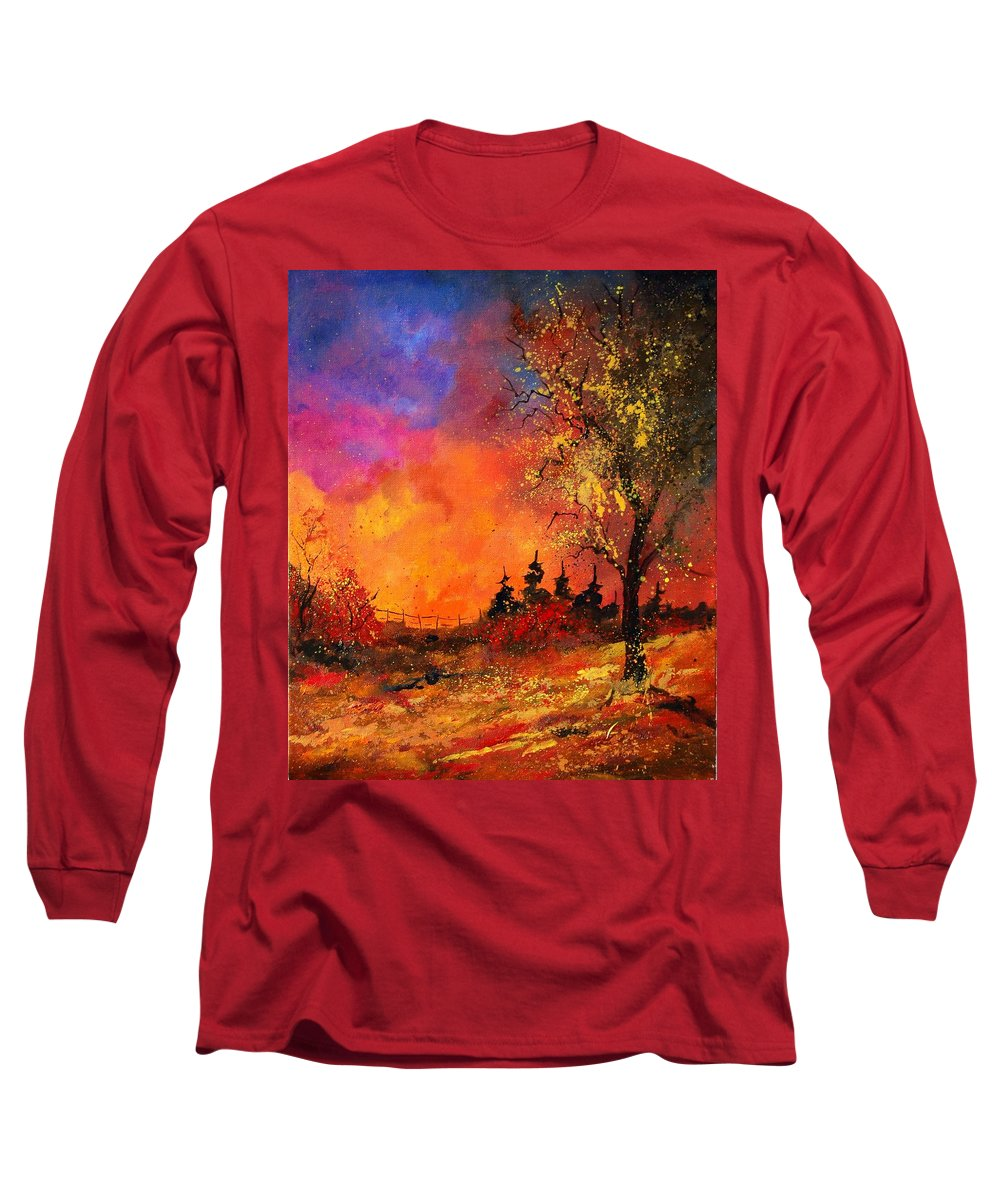 River Long Sleeve T-Shirt featuring the painting Fall by Pol Ledent