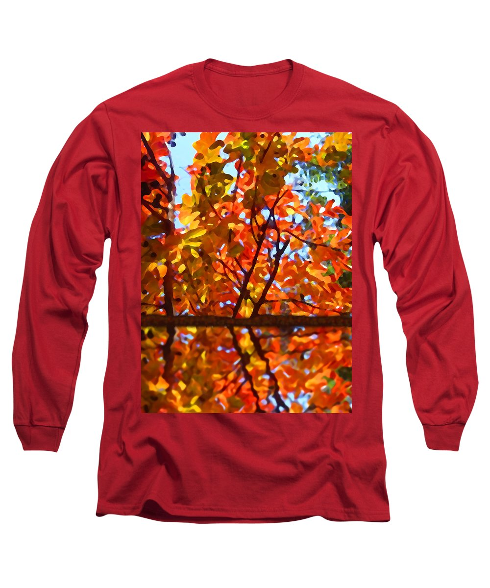 Trees Long Sleeve T-Shirt featuring the painting Fall Reflextion by Amy Vangsgard