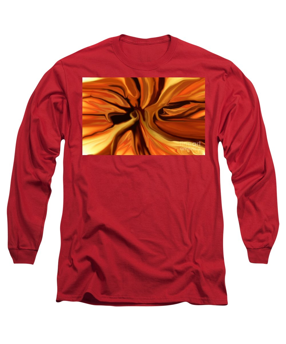 Abstract Long Sleeve T-Shirt featuring the digital art Fantasy In Orange by David Lane