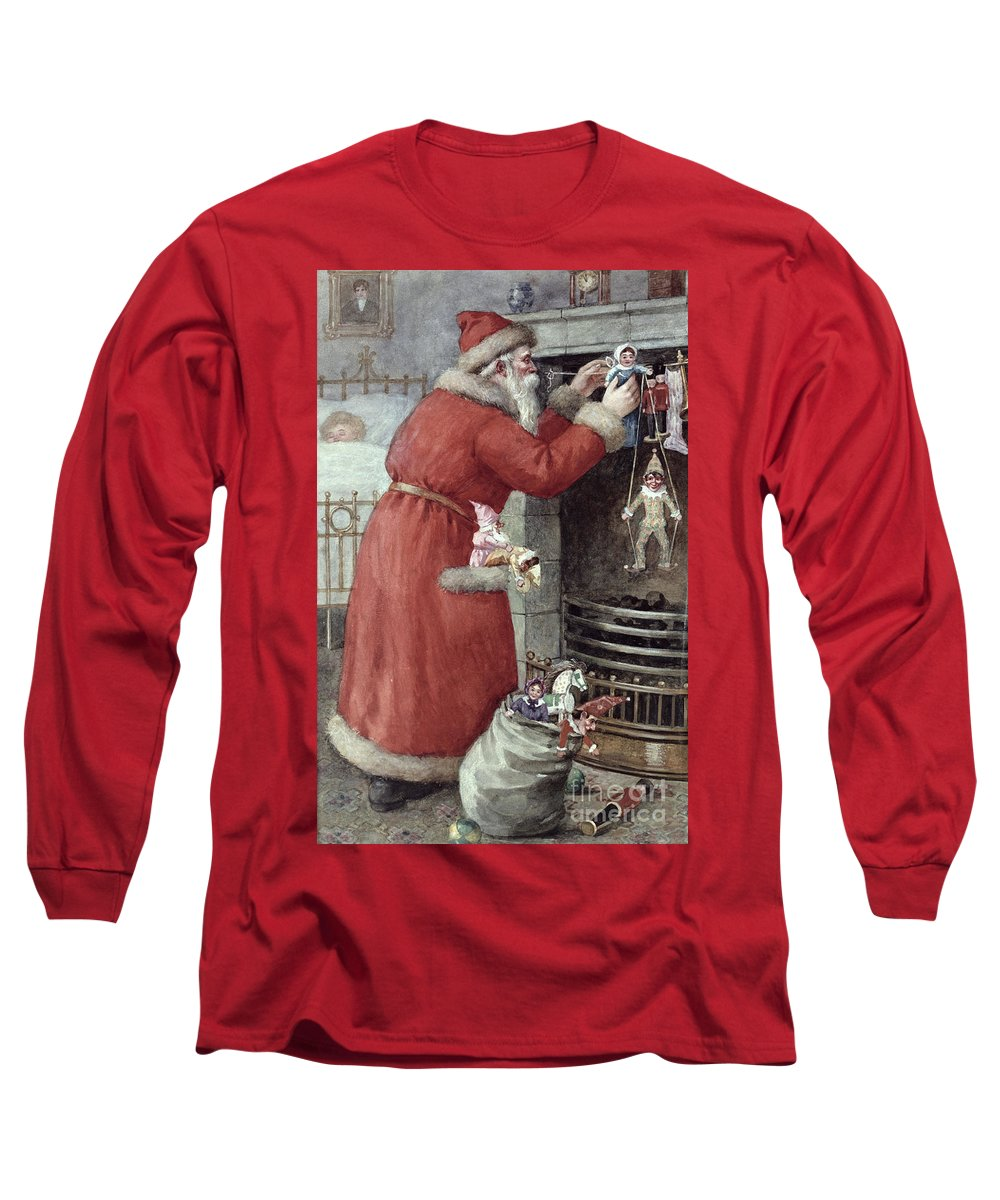 Father Long Sleeve T-Shirt featuring the painting Father Christmas by Karl Roger