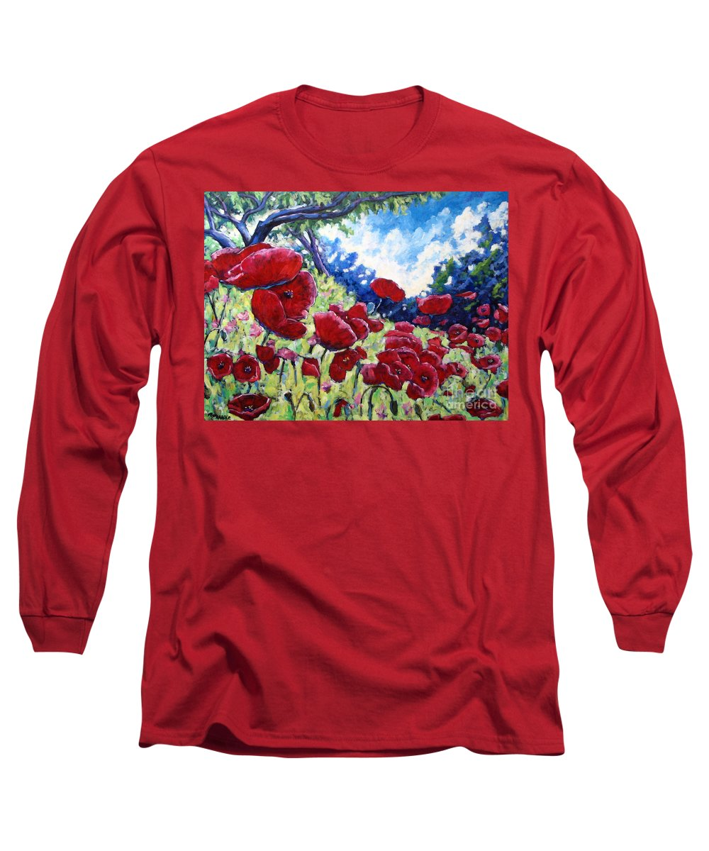 Poppies Long Sleeve T-Shirt featuring the painting Field Of Poppies 02 by Richard T Pranke