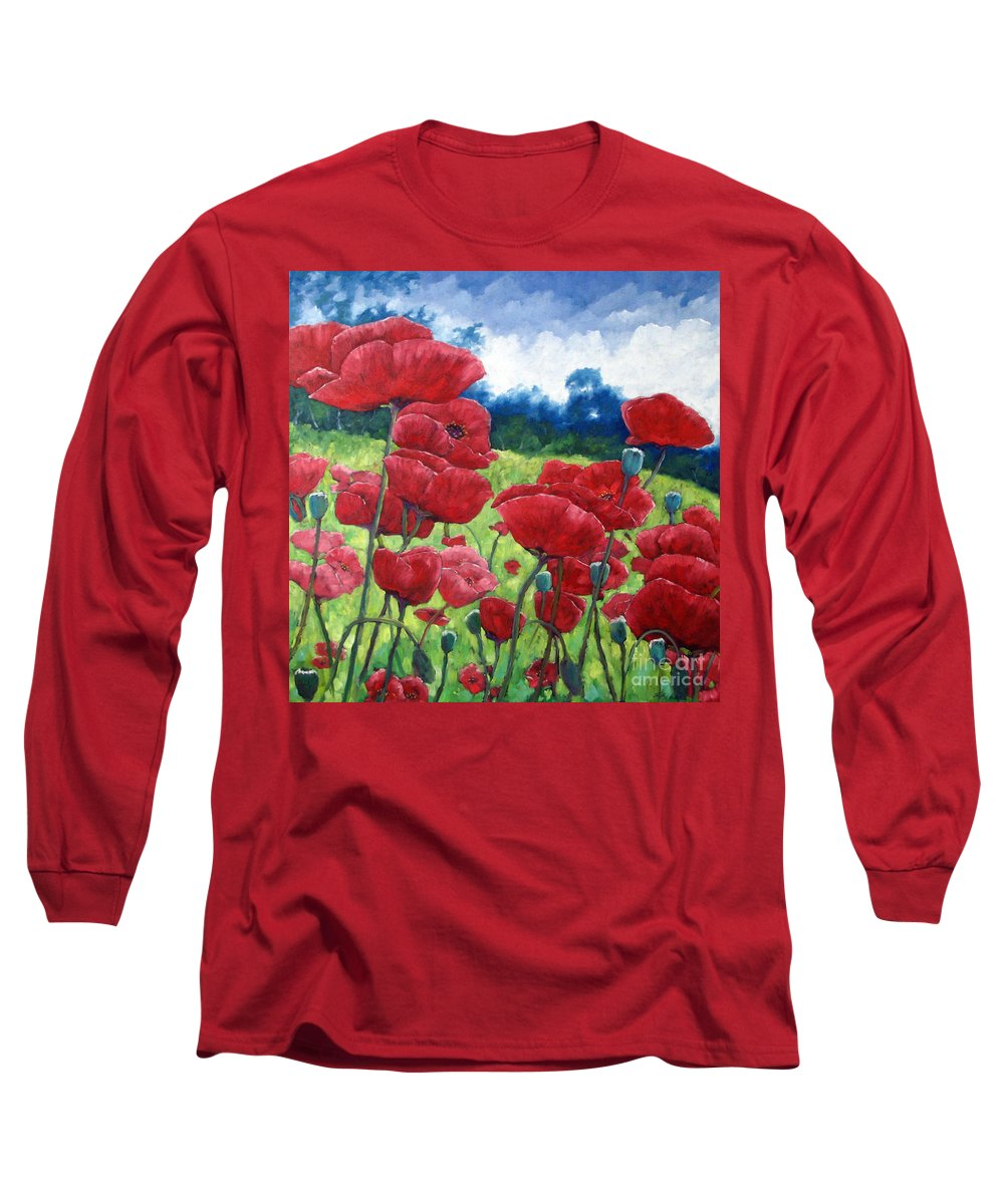 Poppies Long Sleeve T-Shirt featuring the painting Field Of Poppies by Richard T Pranke