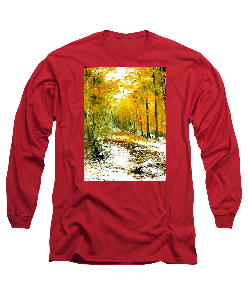 Landscape Long Sleeve T-Shirt featuring the painting First Snow by Boris Garibyan