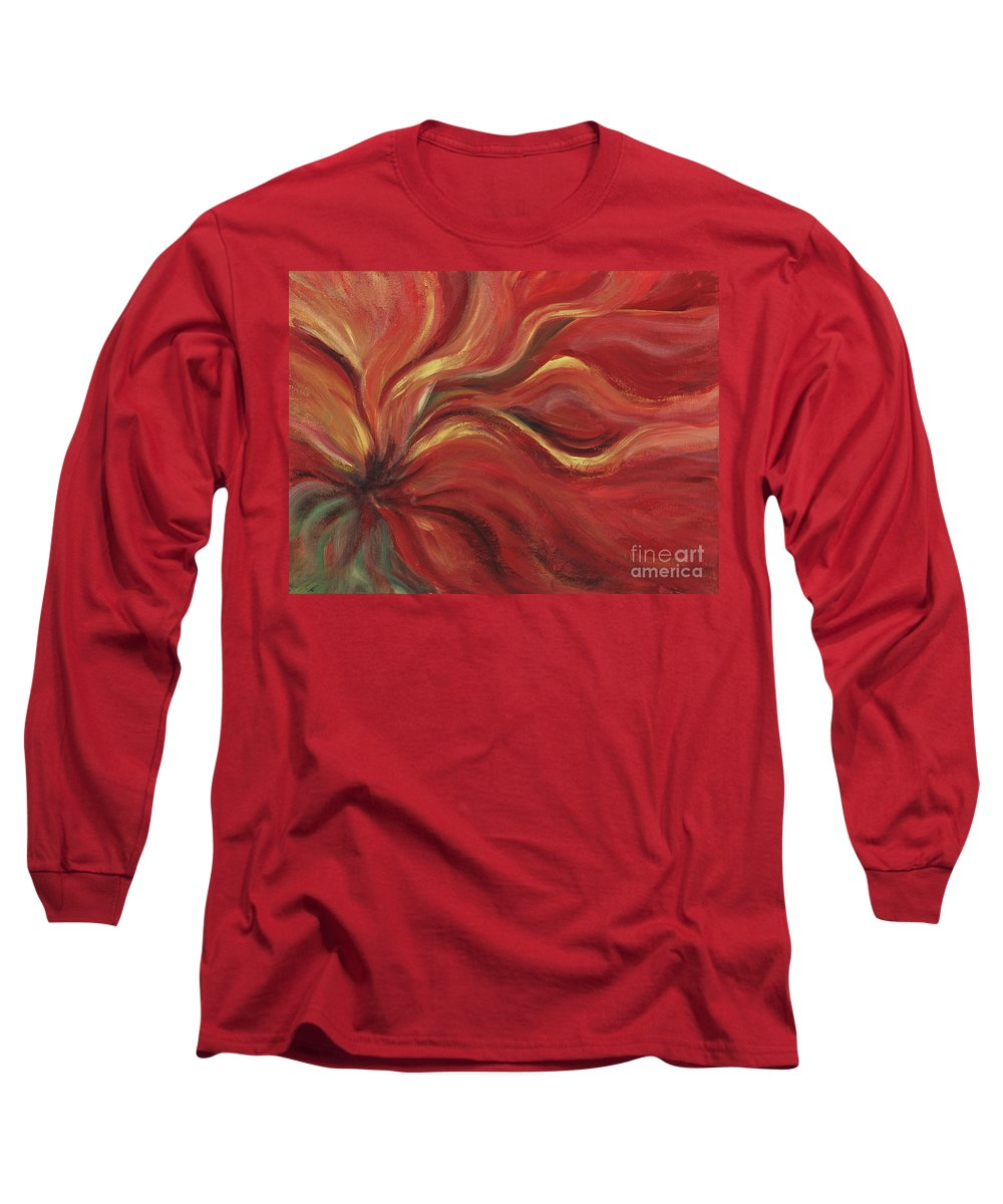 Red Long Sleeve T-Shirt featuring the painting Flaming Flower by Nadine Rippelmeyer
