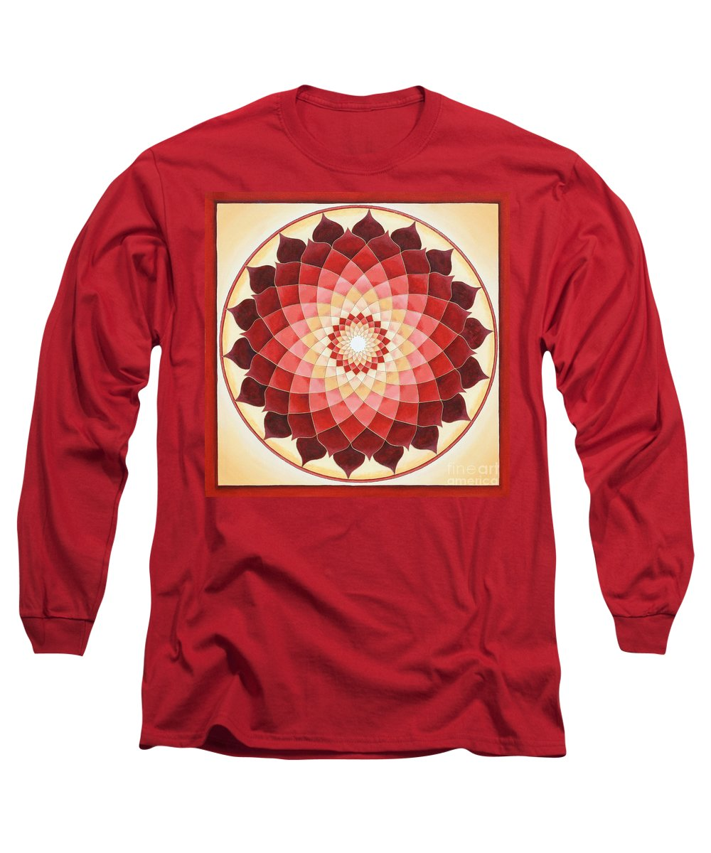 Mandala Long Sleeve T-Shirt featuring the painting Flower Of Life by Charlotte Backman
