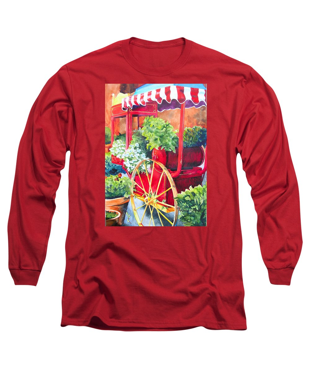 Floral Long Sleeve T-Shirt featuring the painting Flower Wagon by Karen Stark