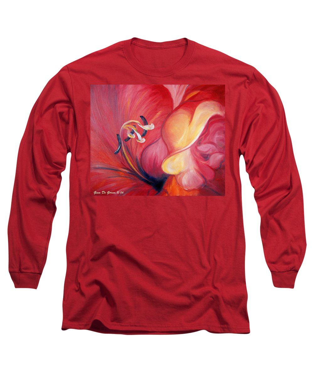 Red Long Sleeve T-Shirt featuring the painting From The Heart Of A Flower Red by Gina De Gorna