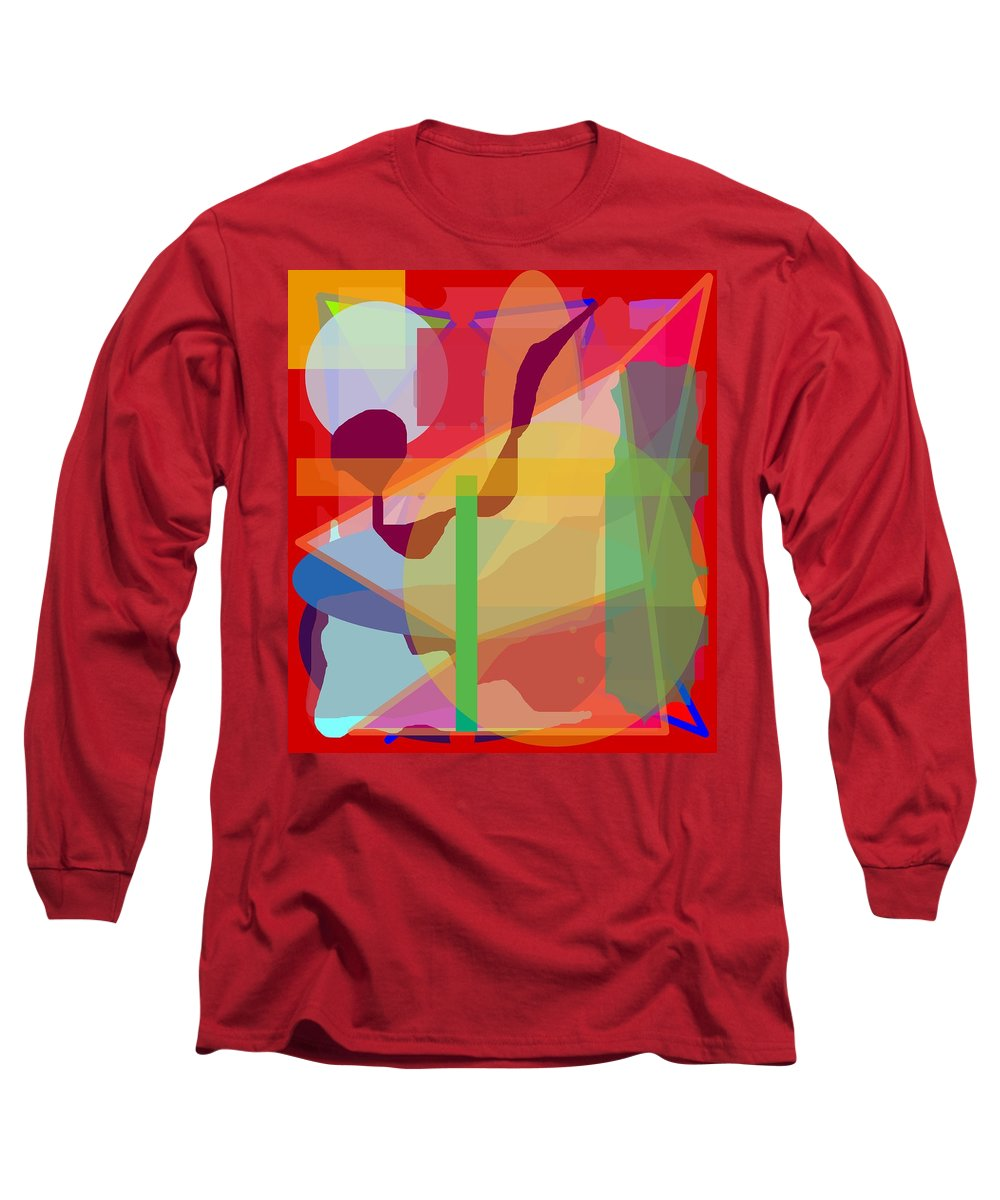 Abstract Long Sleeve T-Shirt featuring the painting Geo Frenzy by Pharris Art