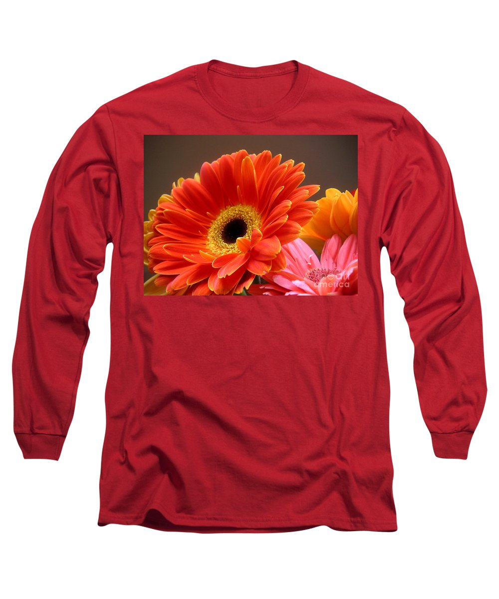 Nature Long Sleeve T-Shirt featuring the photograph Gerbera Daisies - Luminous by Lucyna A M Green