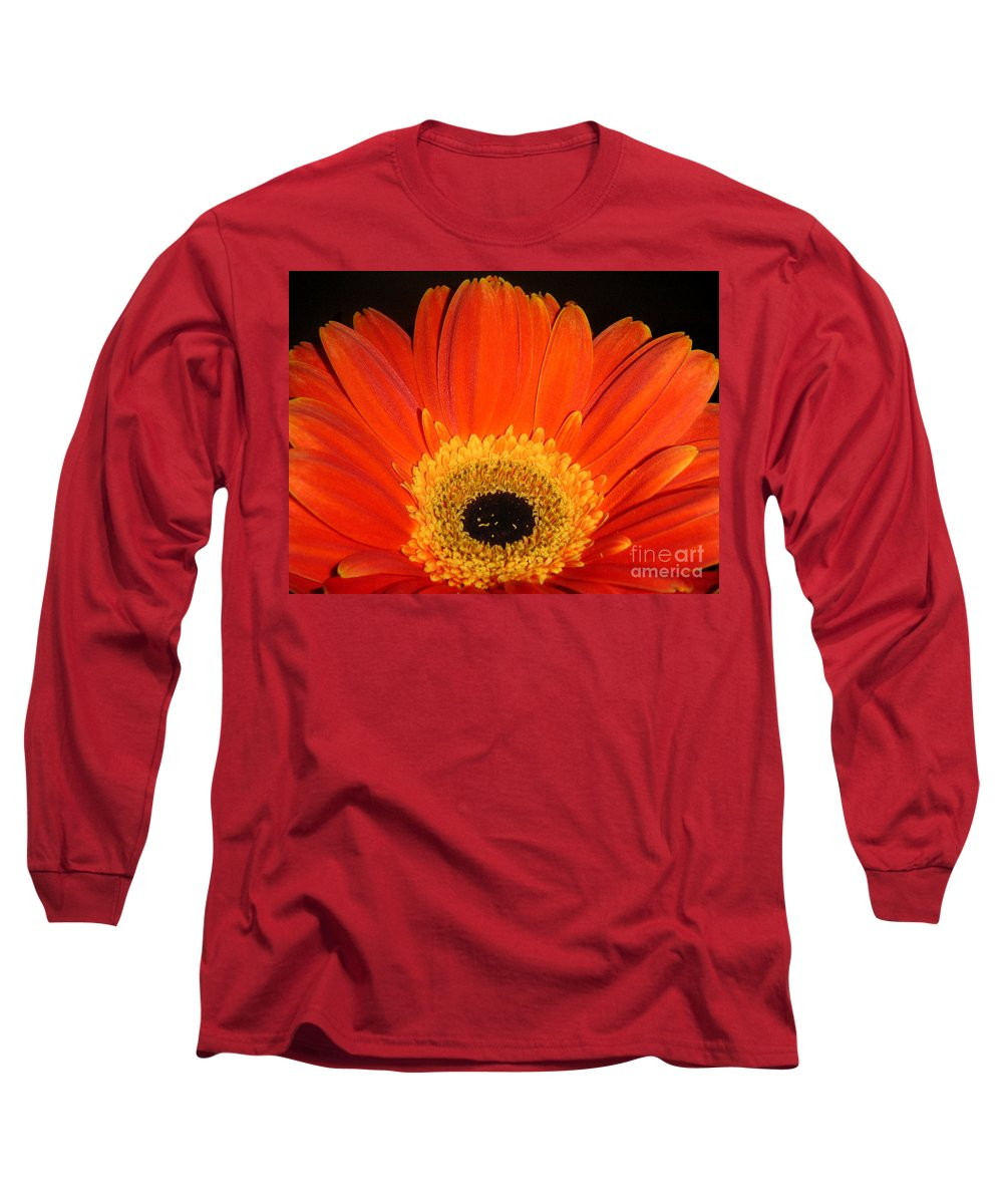 Nature Long Sleeve T-Shirt featuring the photograph Gerbera Daisy - Glowing In The Dark by Lucyna A M Green