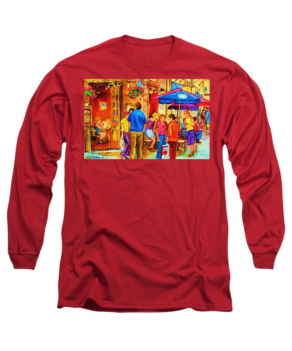 Montreal Cafe Scenes Long Sleeve T-Shirt featuring the painting Girl In The Cafe by Carole Spandau
