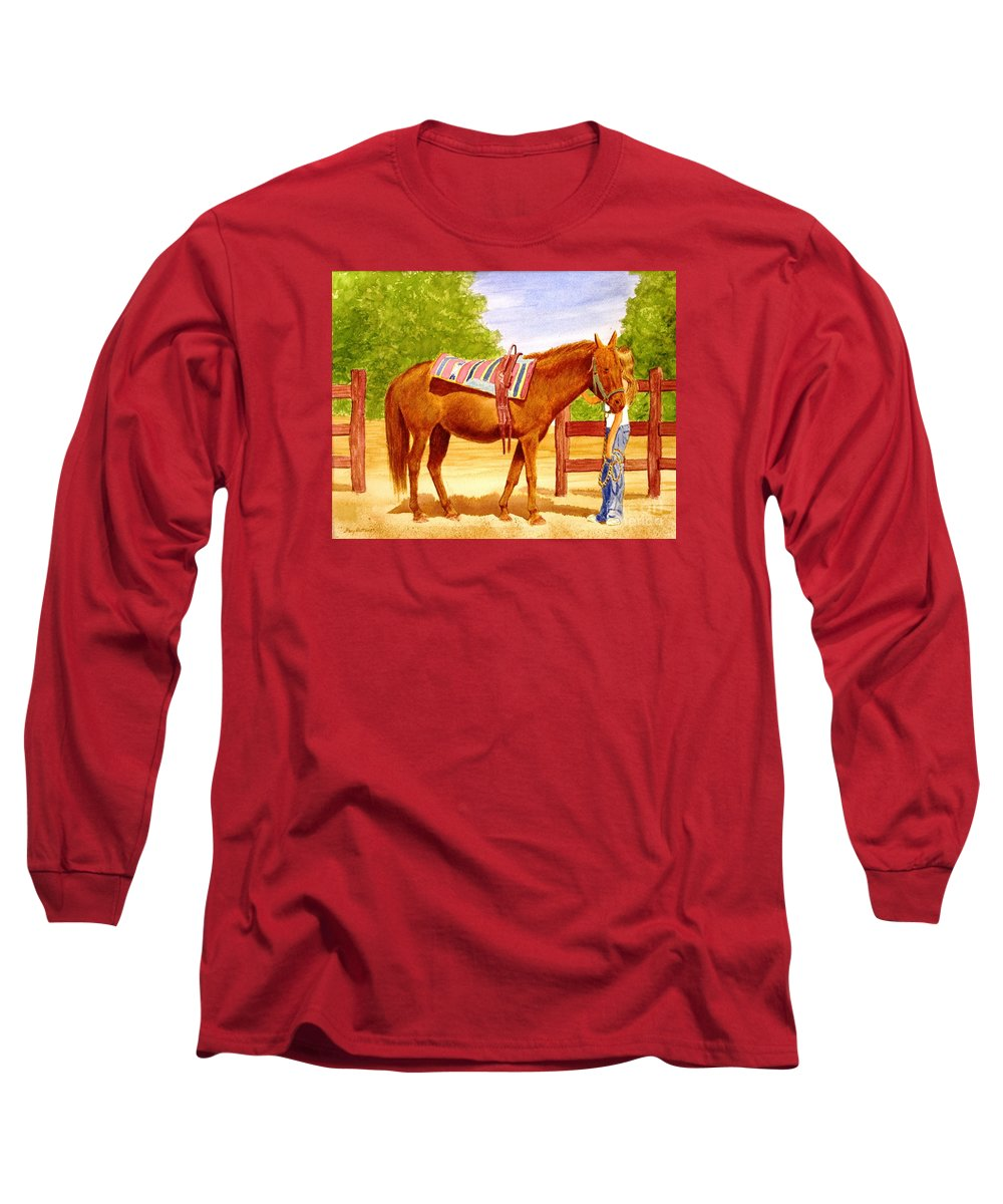 Equine Long Sleeve T-Shirt featuring the painting Girl Talk by Stacy C Bottoms