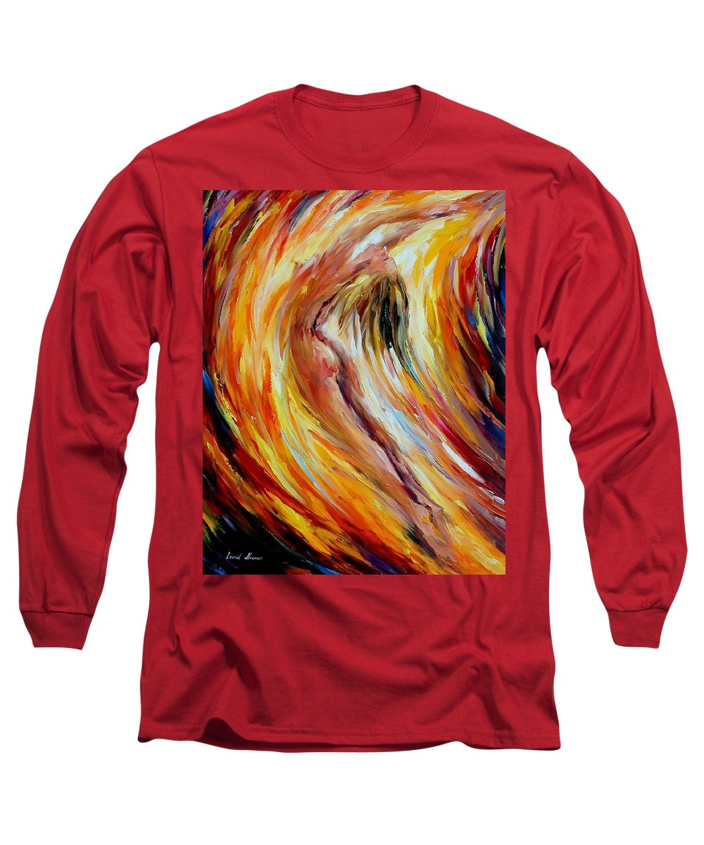 Nude Long Sleeve T-Shirt featuring the painting Gold Falls by Leonid Afremov