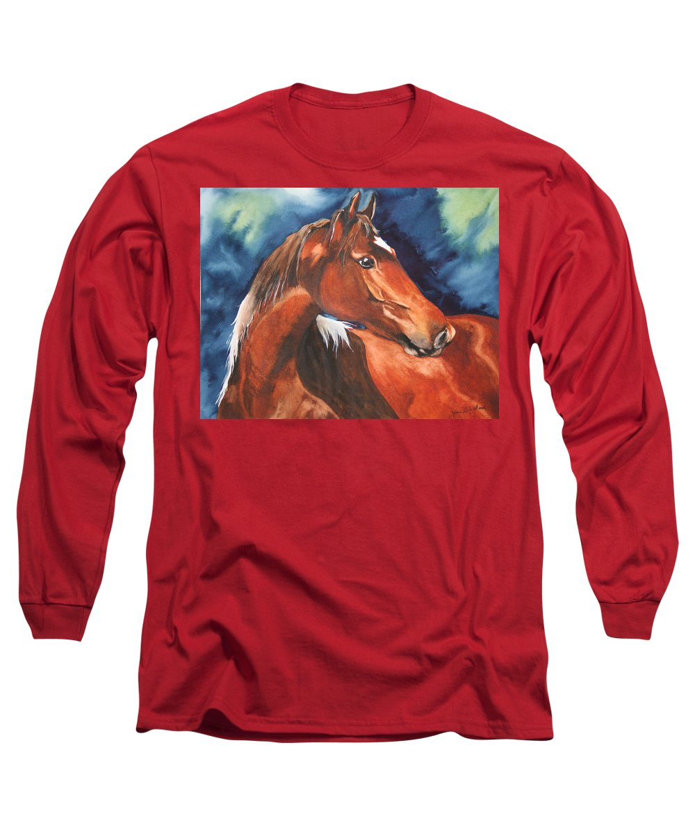 Horse Long Sleeve T-Shirt featuring the painting Golden Boy by Jean Blackmer
