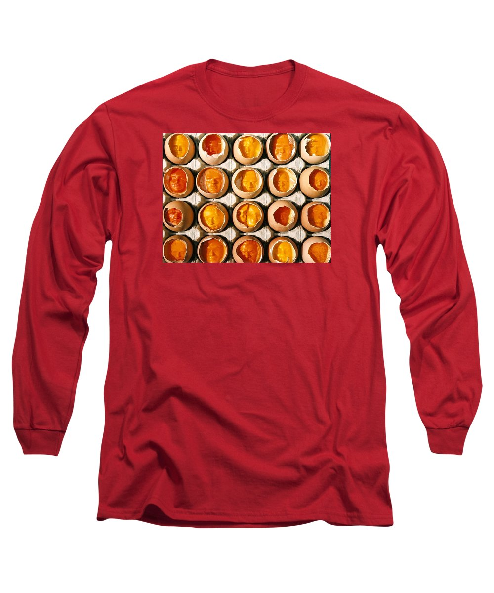 Eggs Long Sleeve T-Shirt featuring the sculpture Golden Eggs 2 by Mark Cawood