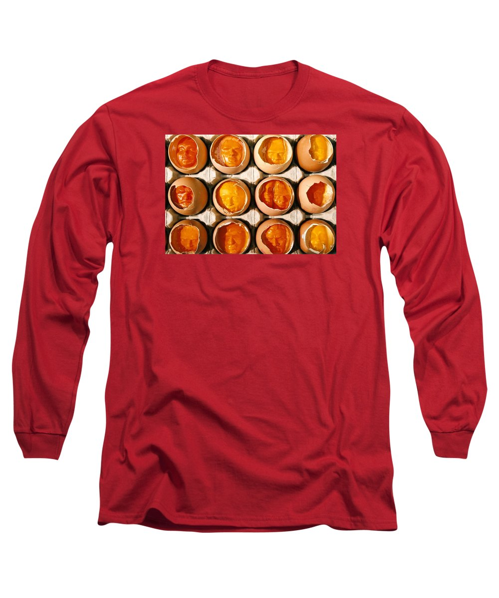 Eggs Long Sleeve T-Shirt featuring the sculpture Golden Eggs by Mark Cawood