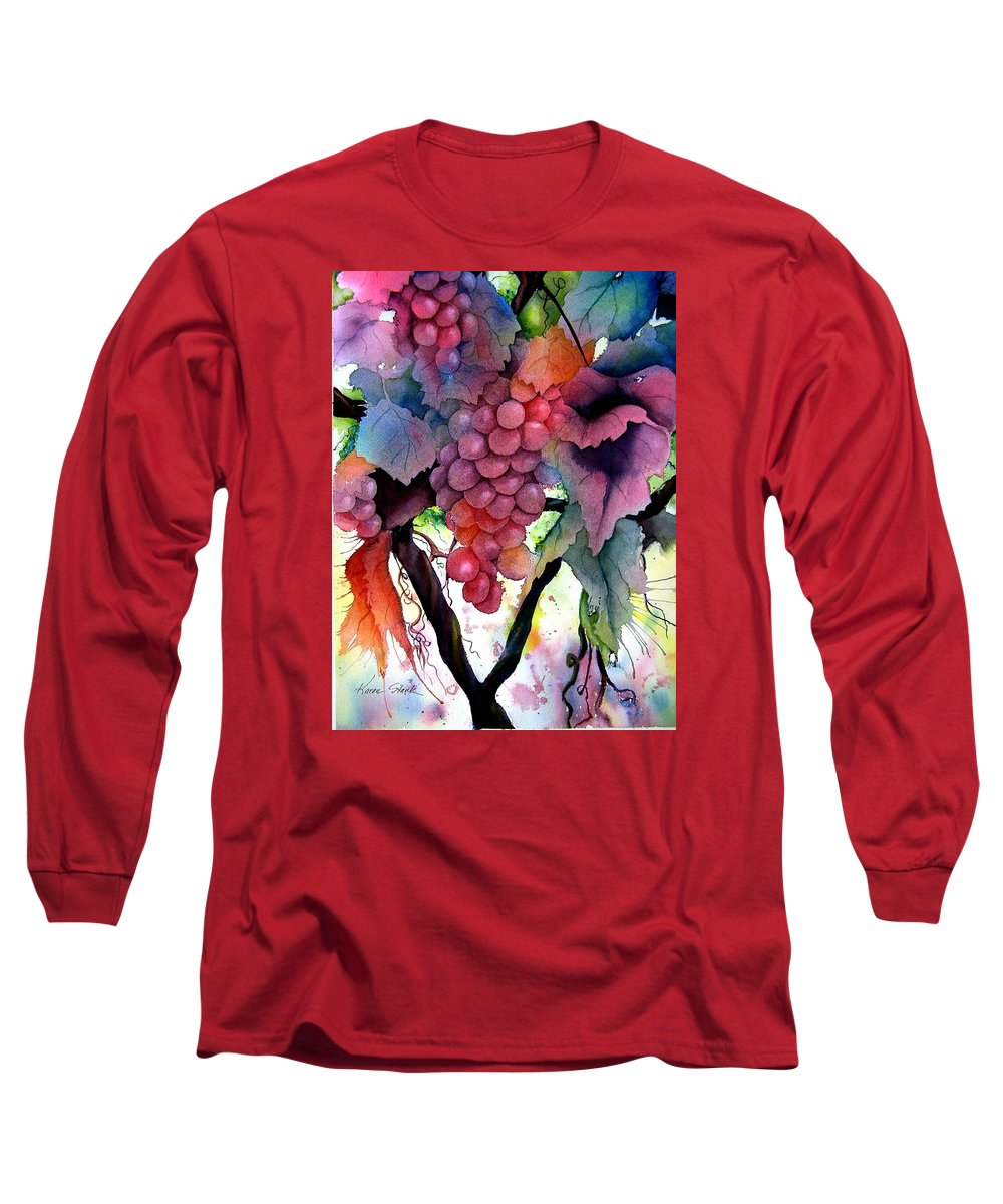 Grape Long Sleeve T-Shirt featuring the painting Grapes IIi by Karen Stark