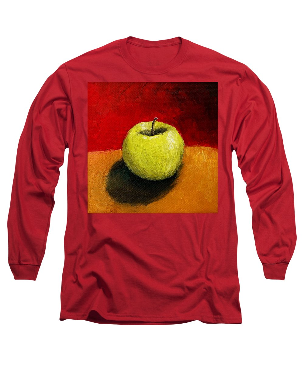 Apple Long Sleeve T-Shirt featuring the painting Green Apple With Red And Gold by Michelle Calkins