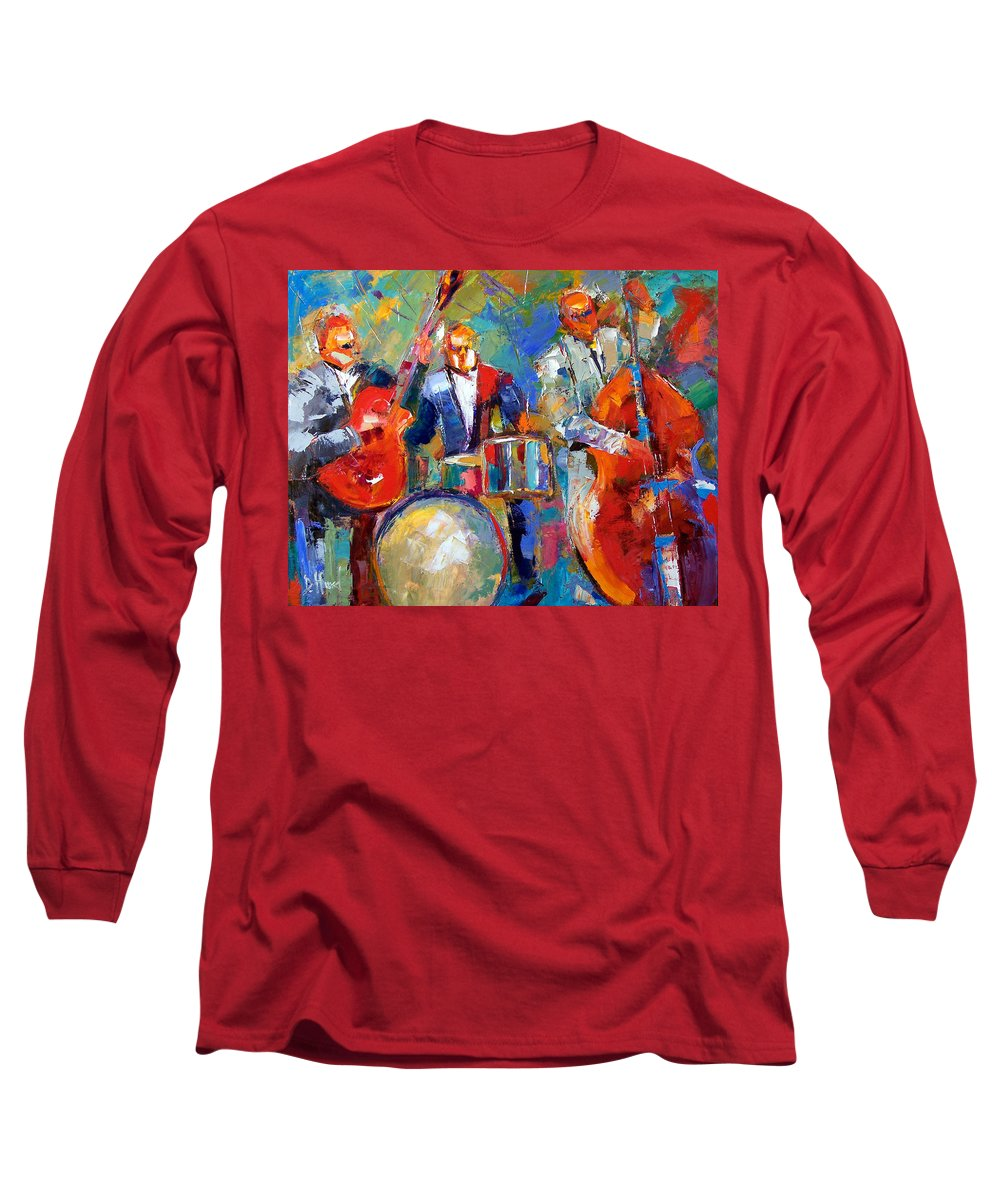 Jazz Painting Long Sleeve T-Shirt featuring the painting Guitar Drums And Bass by Debra Hurd